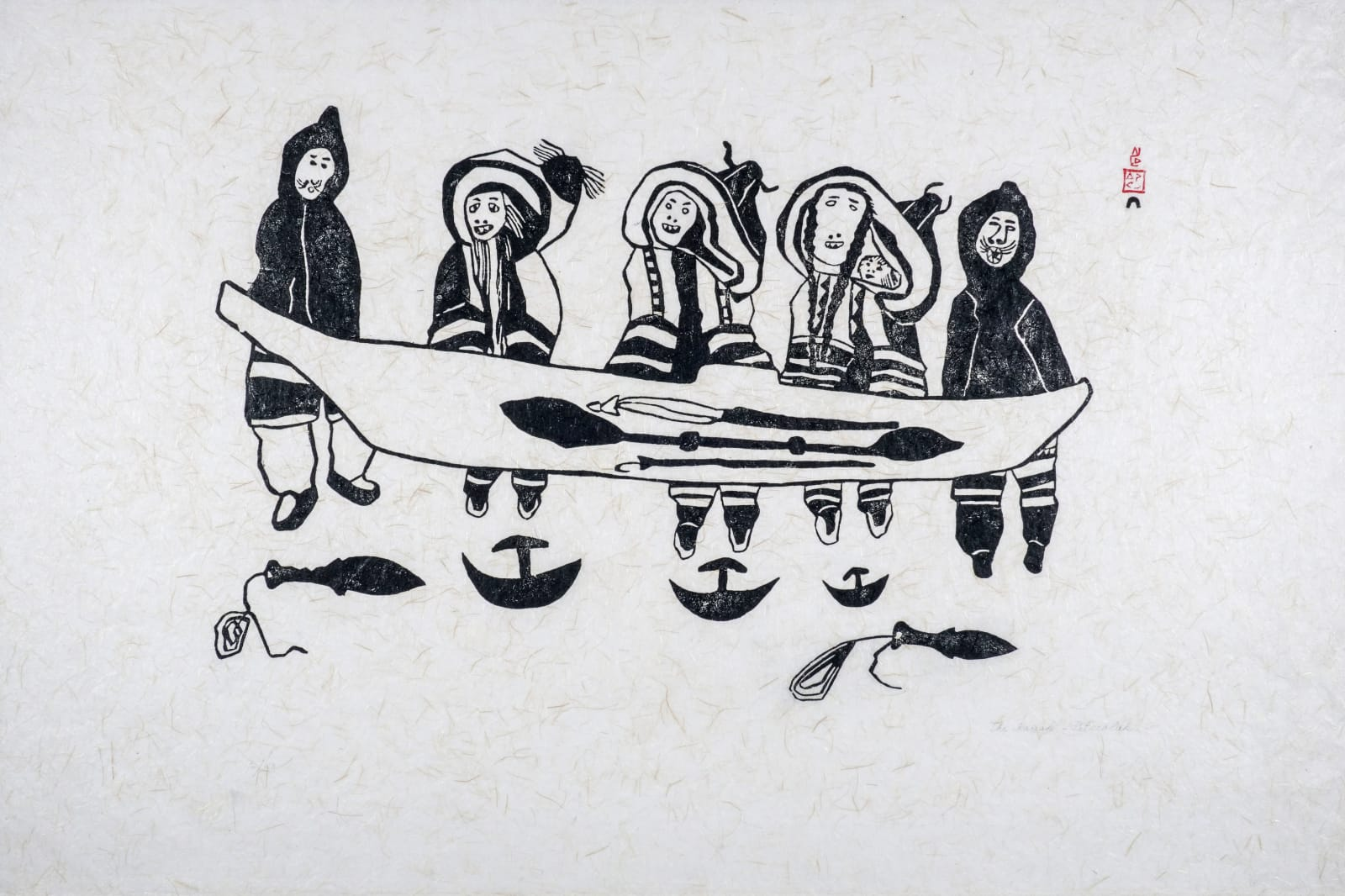 PITSEOLAK ASHOONA, R.C.A., O.C., (1904-1983) KINNGAIT (CAPE DORSET) The Kayak (Kayak and Family), 1962 stonecut, 24 x 28 in (61 x 71.1 cm) ESTIMATE: $800 — $1,200 New Price: $600