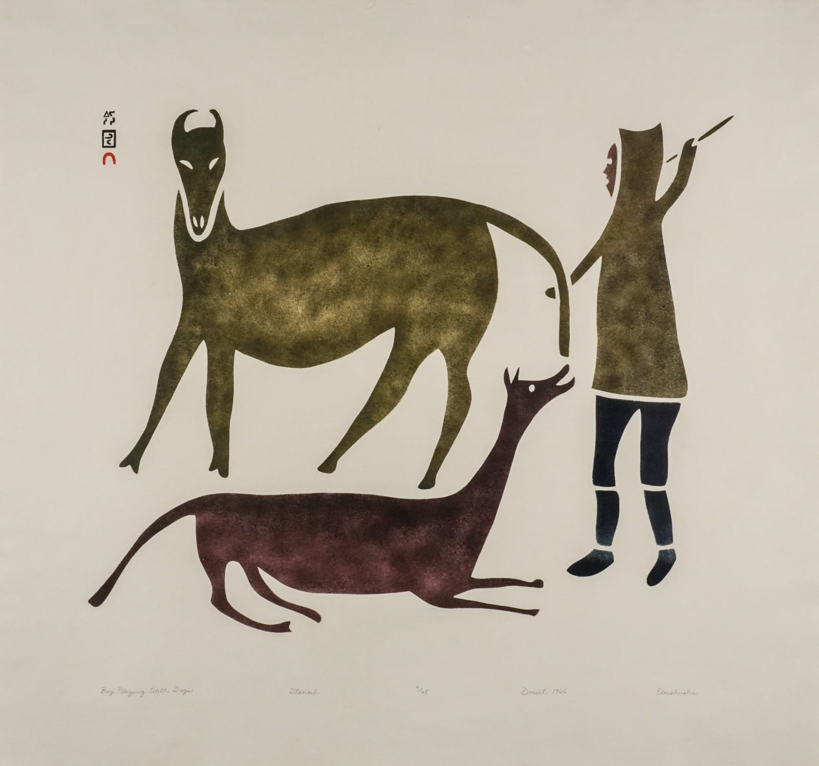ELEESHUSHE PARR (1896-1975) KINNGAIT (CAPE DORSET) Boy Playing With Dogs, 1966 (2012) stencil on Hamilton Andorra paper, 26 1/8 x 28 in (66.5 x 71 cm) ESTIMATE: $700 — $1,000 New Price: $550
