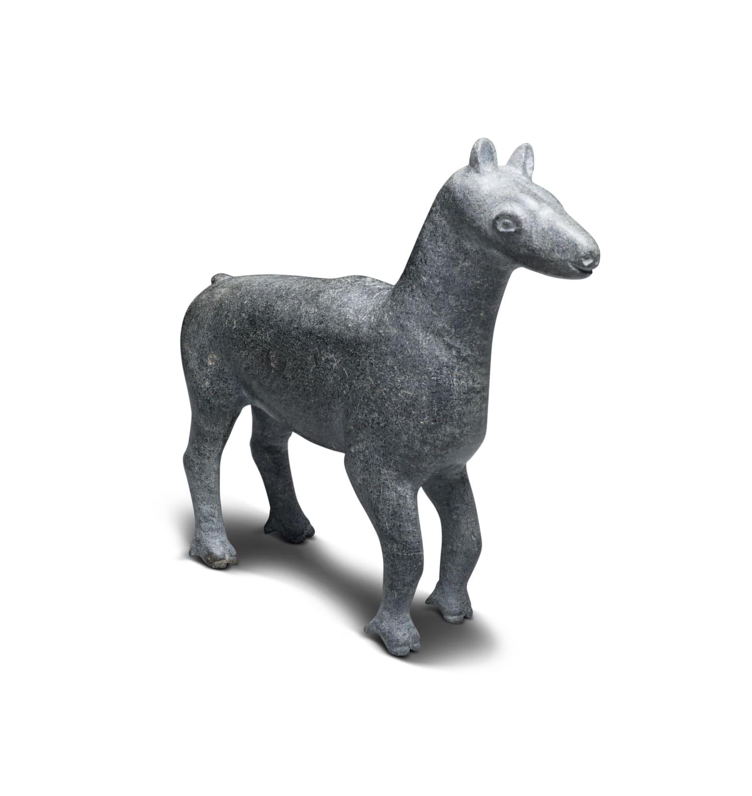 Probably: SAMMY NASSAK (1905-1988) KANGIRSUK (PAYNE BAY / BELLIN) Caribou Calf stone, 5 1/2 x 6 x 2 in (14 x 15.2 x 5.1 cm) ESTIMATE: $400 — $600 New Price: $350