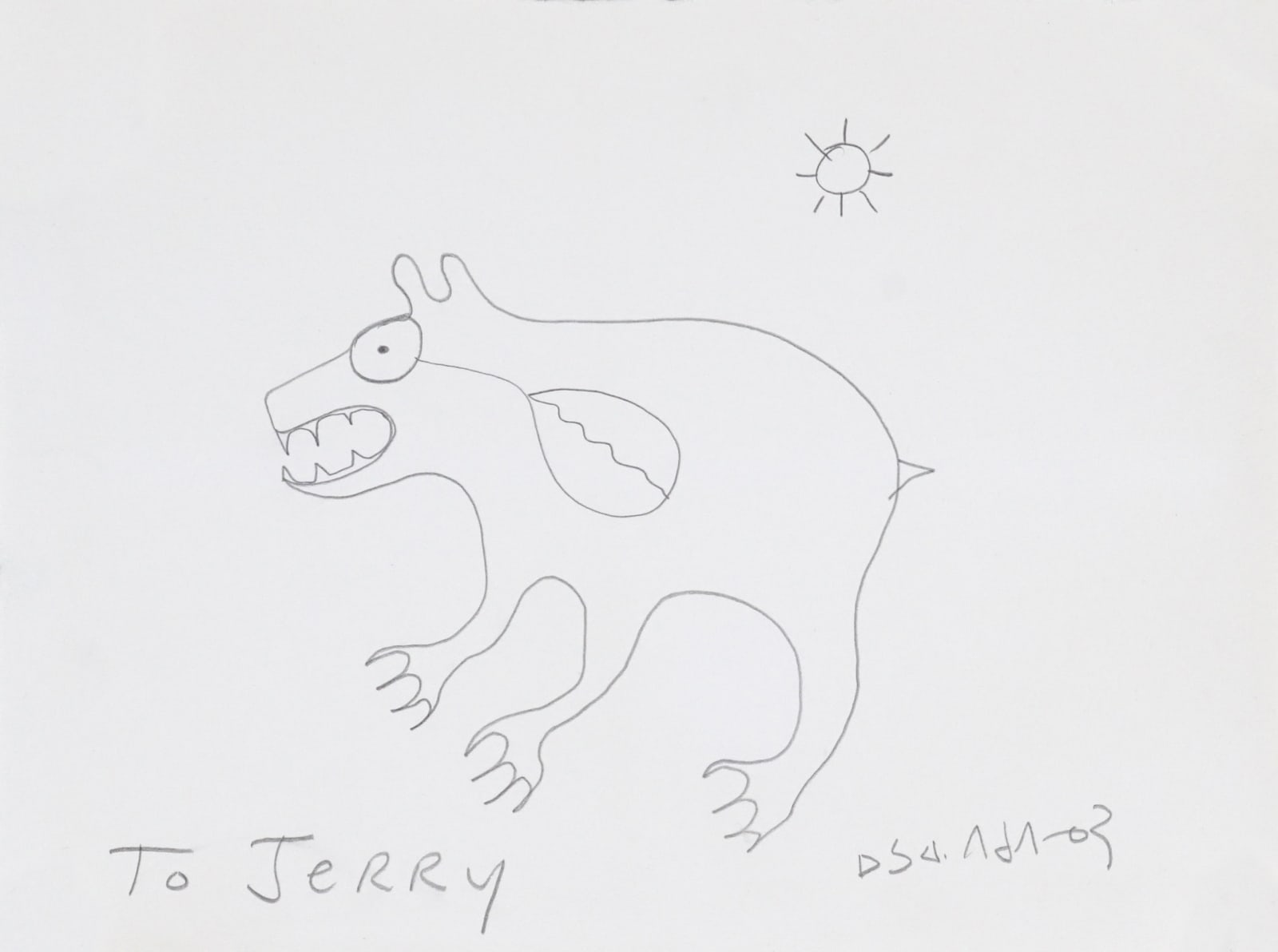 NORVAL MORRISSEAU, C.M. (1931-2007) ANISHINAABE Untitled (Bear), 1978 graphite on paper, 9 x 12 in (22.9 x 30.5 cm) ESTIMATE: $500 — $800 New Price: $380