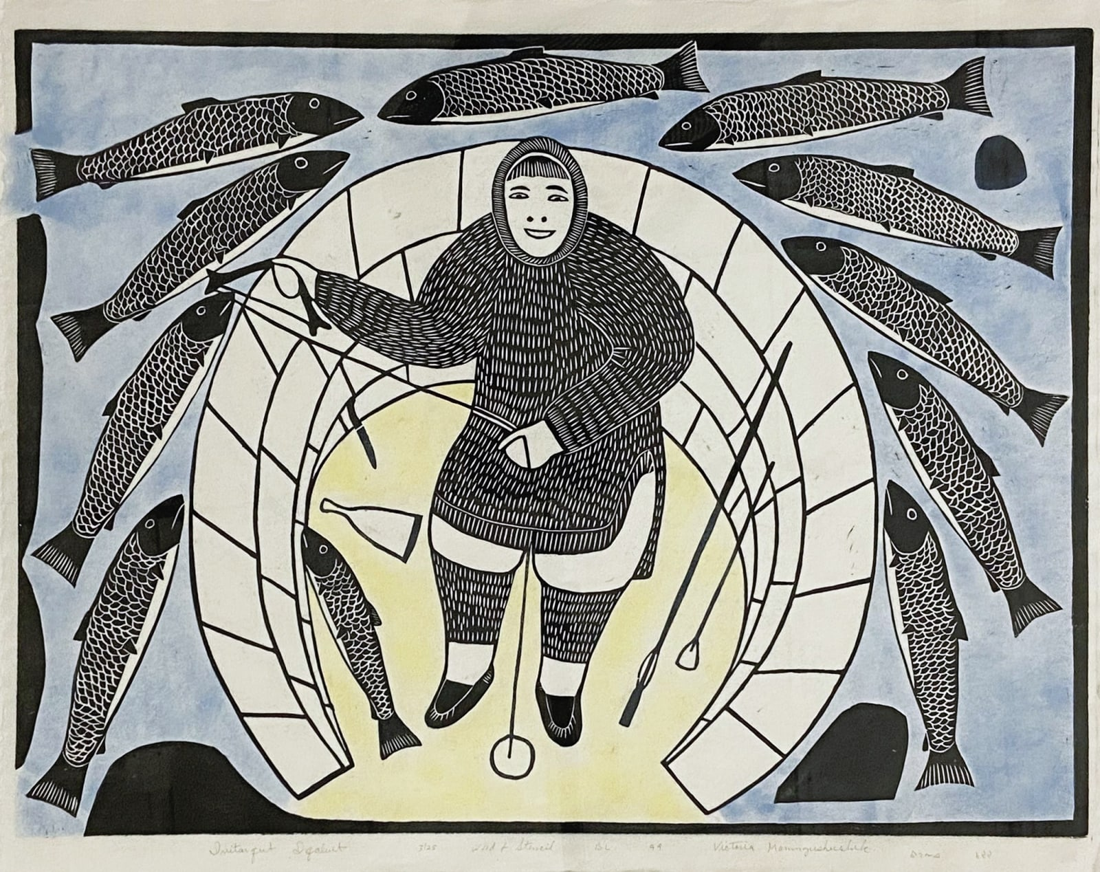 VICTORIA MAMNGUQSUALUK (1930-2016) QAMANI'TUAQ (BAKER LAKE) Ivitarqut Iqaluit, 1999 woodcut and stencil, 17 3/4 x 24 in (45.1 x 61 cm) ESTIMATE: $400 — $600 New Price: $300