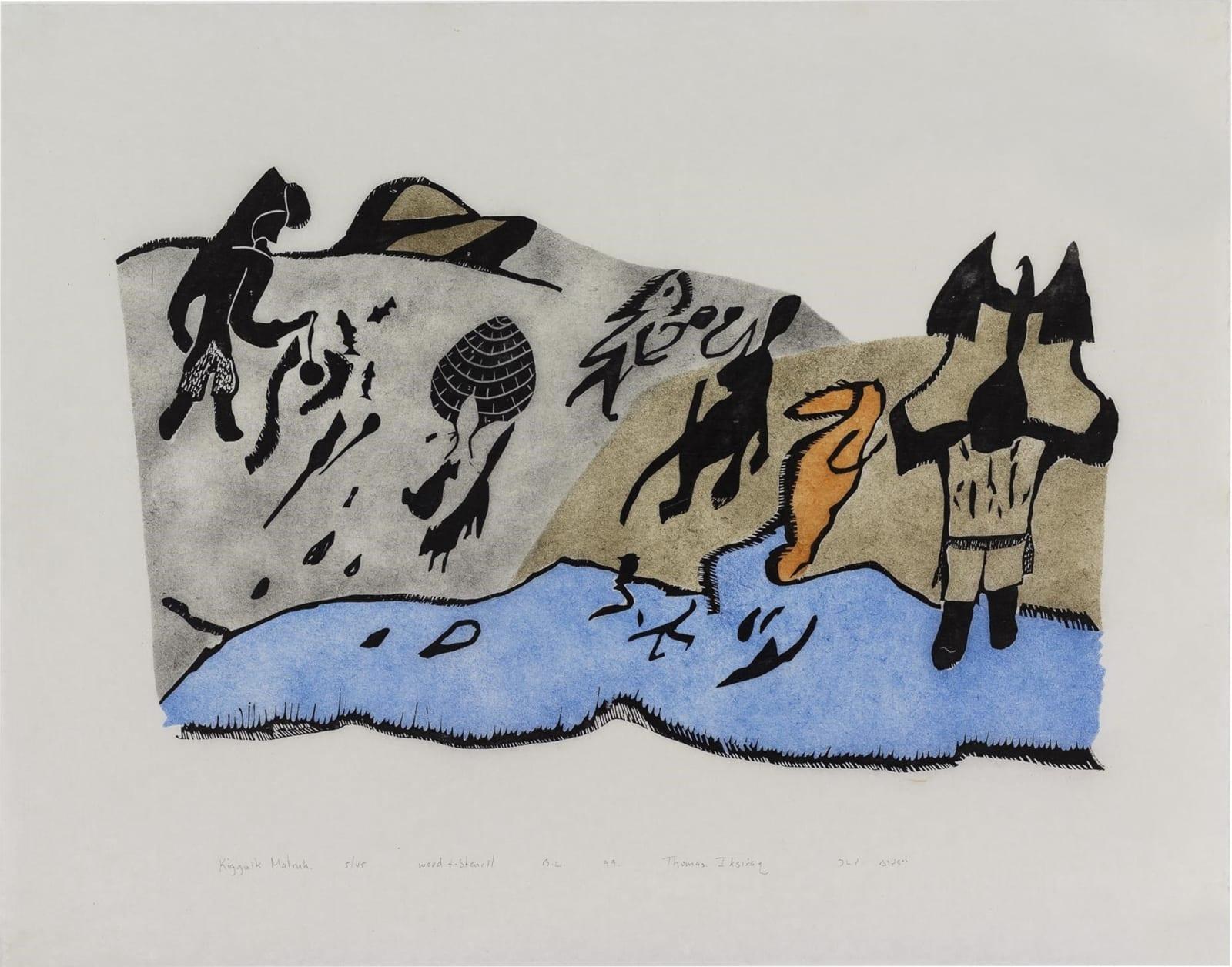 THOMAS IKSIRAQ (1941-1991) QAMANI'TUAQ (BAKER LAKE) Kigutik Malruk, 1999 woodcut and stencil sight: 18 x 23 1/4 in (45.7 x 59 cm) Estimate: $300 — $400 New Price: $225