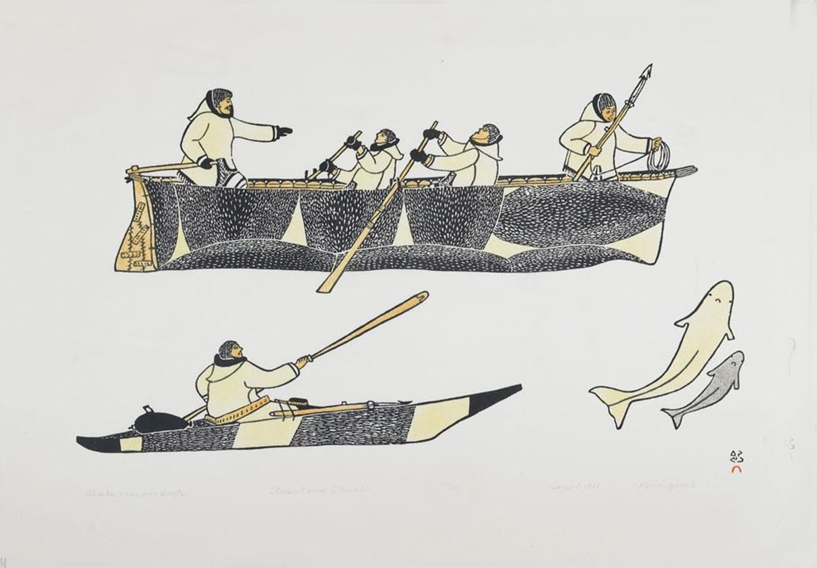 KANANGINAK POOTOOGOOK, R.C.A. (1935-2010) KINNGAIT (CAPE DORSET) Sharks Near Our Boats, 1981 stonecut and stencil, framed, sight: 21 x 31 in (53.3 x 78.7 cm) Estimate: $500 — $800 New Price: $300