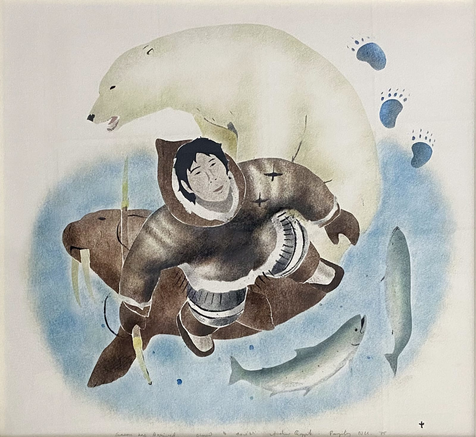 ANDREW QAPPIK (1964-) C.M., PANNIRTUQ (PANGNIRTUNG) Season has Arrived, 1998 stencil, framed, sight: 21 x 19 in (53.3 x 48.3 cm) ESTIMATE: $400 — $600 New Price: $300