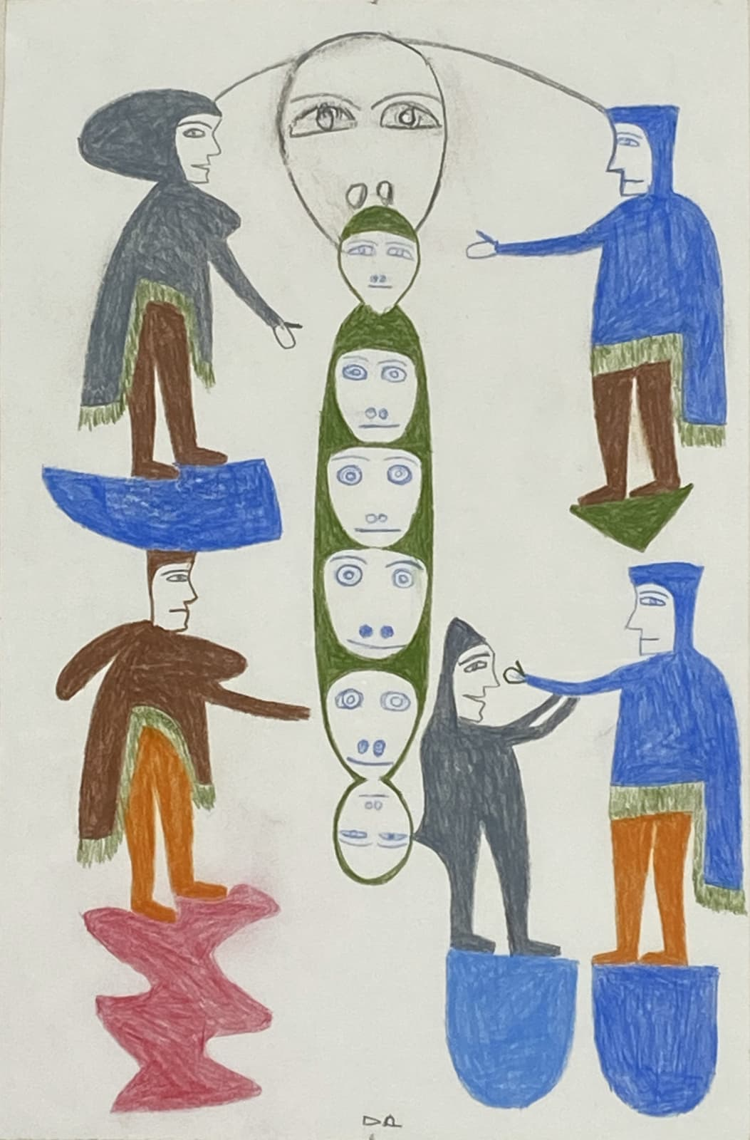 LOT 61 JESSIE OONARK, O.C., R.C.A (1906-1985) QAMANI'TUAQ (BAKER LAKE) Untitled (Composition with Faces and Balancing Figures), 1975 coloured pencil on paper, 14 1/2 x 9 3/4 in (36.8 x 24.8 cm) framed. ESTIMATE $2,000 — $3,000