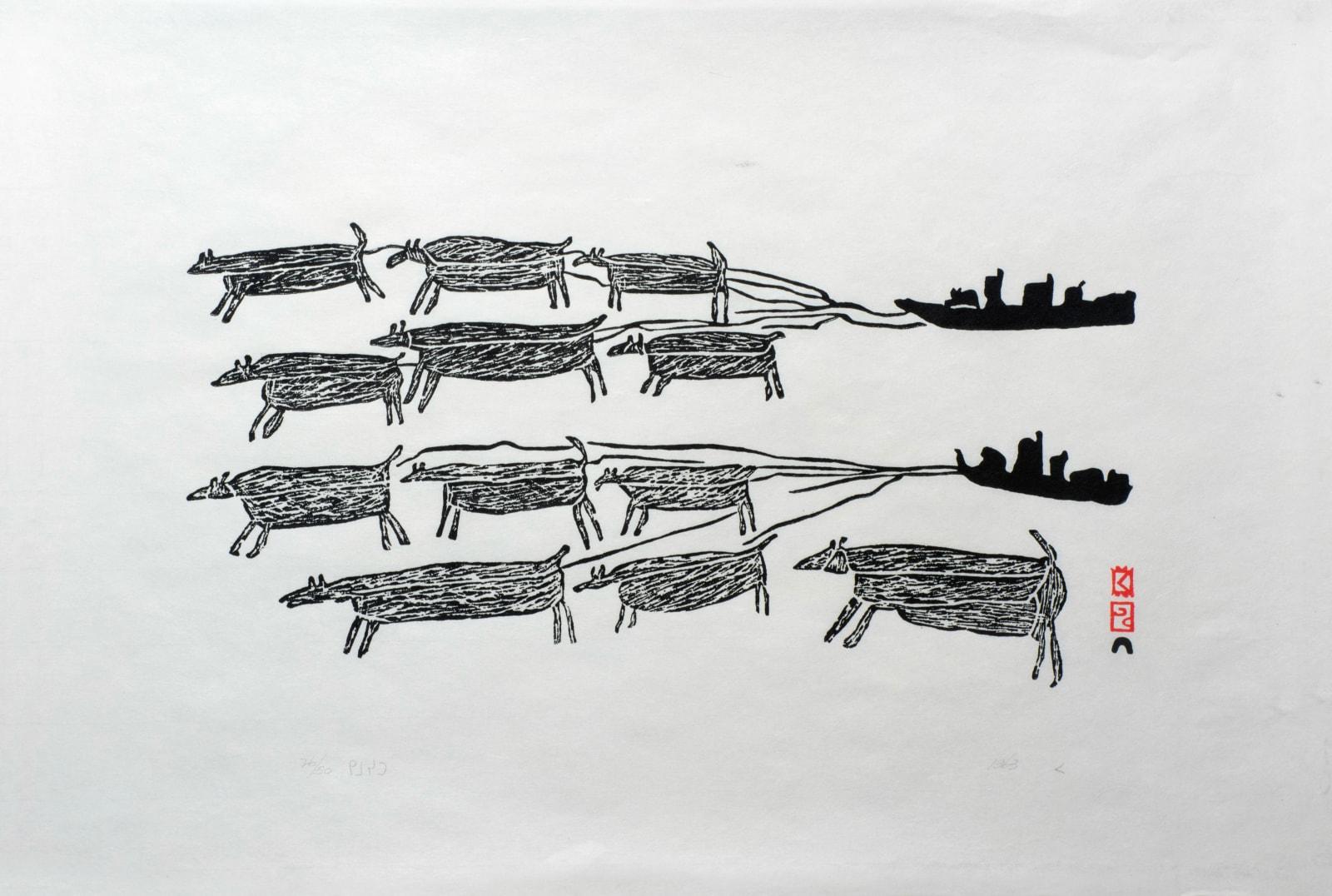 PARR (1893-1969) KINNGAIT (CAPE DORSET) Dog Teams, 1963 #45 stonecut, 17 x 24.25 in (43.2 x 61.6 cm) $3,750