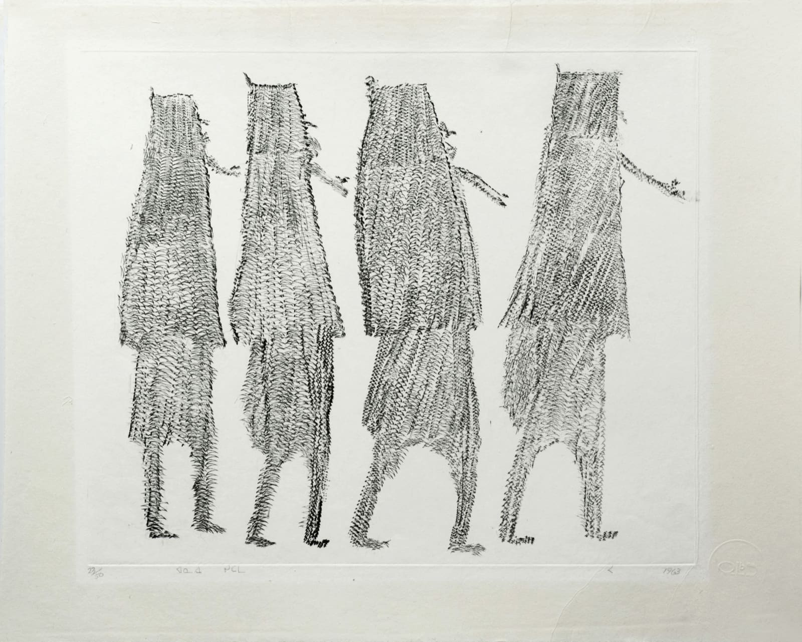 PARR (1893-1969) KINNGAIT (CAPE DORSET) Four Women, 1963 #39 engraving plate: 9.75 x 11.75 in (24.8 x 29.8 cm) sheet: 12.5 x 15.25 in (31.8 x 38.7 cm) $1,200