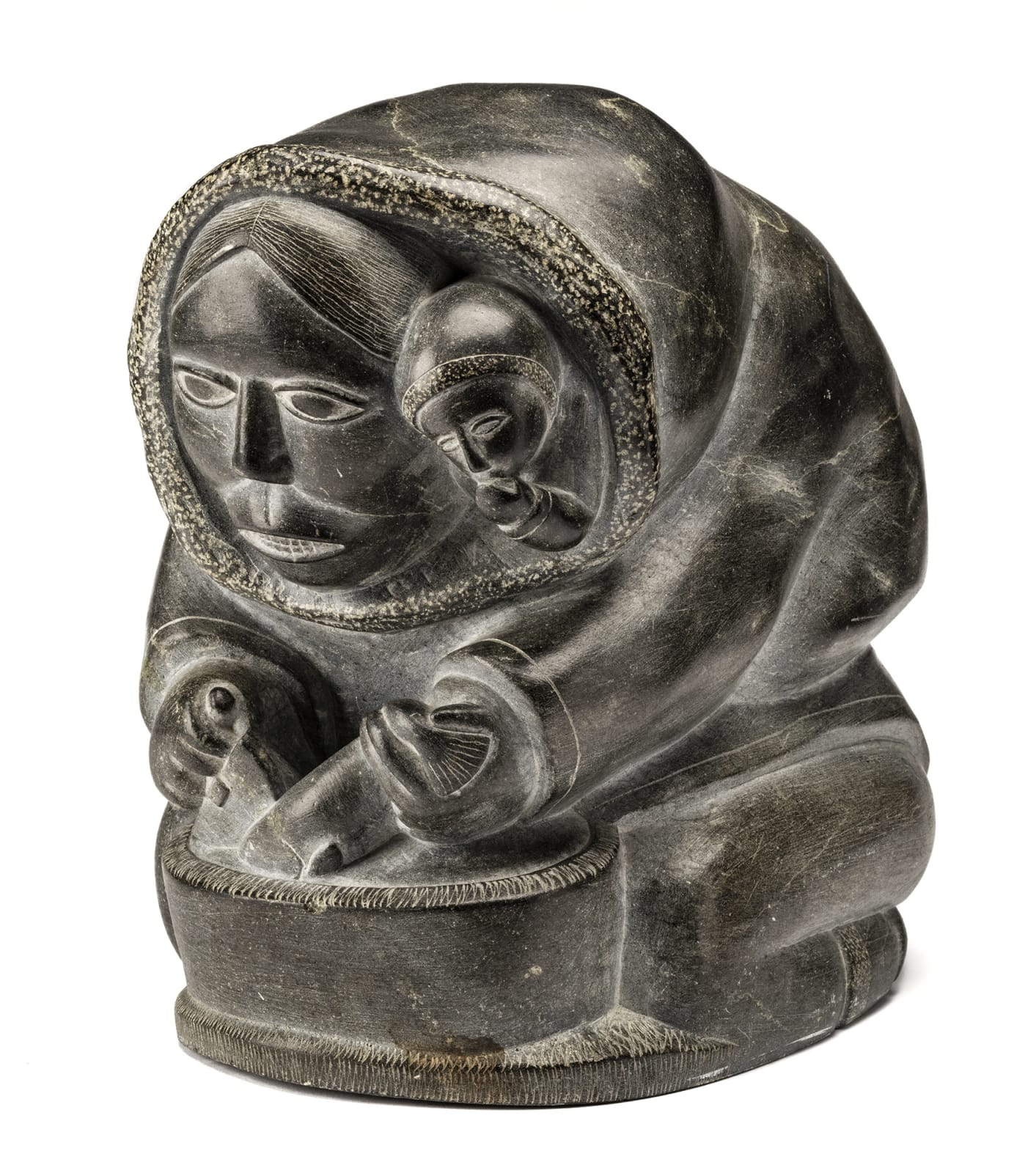 Lot 100 SAMSON NASTAPOKA (1931-) INUKJUAK (PORT HARRISON) Mother and Child, Cutting Up a Fish, c. 1960 stone, 11.5 x 8 x 11 in (29.2 x 20.3 x 27.9 cm) Estimate: $4,000⁠⁠⁠— $6,000 Price realized: $4,320