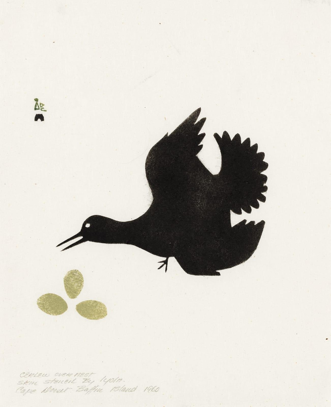 Lot 104 IYOLA KINGWATSIAK (1933-2000) m., KINNGAIT (CAPE DORSET) Curlew Over Nest*, 1960 sealskin stencil, 10.5 x 8.5 in (26.7 x 21.6 cm). Estimate: $2,000— $3,000 Price realized: $3,840