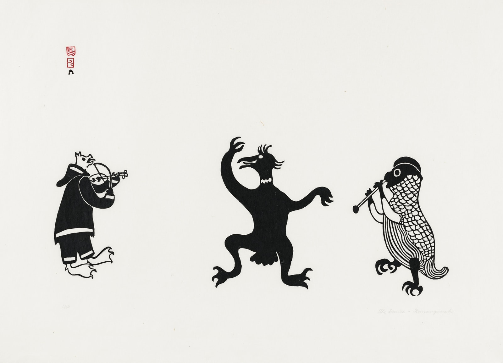 Lot 105 KANANGINAK POOTOOGOOK, R.C.A. (1935-2010) m., KINNGAIT (CAPE DORSET) The Dance (The Fiddle Player), c. 1960-61 (commissioned print, possibly for Imperial Oil) stonecut, 23.5 x 30 in (59.7 x 76.2 cm) Estimate: $900— $1,200