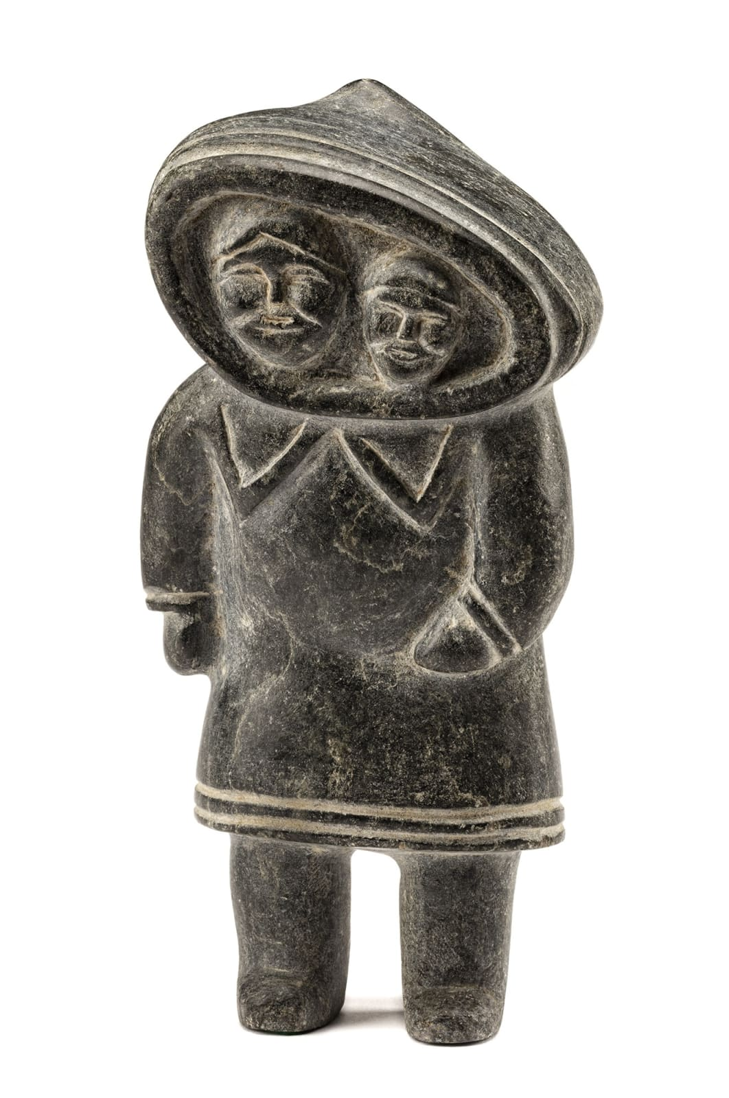 Lot 109 OOTOOVA KOONARK (1930-) f., MITTIMATALIK (POND INLET) Standing Mother with Child in Her Amaut, early 1960s stone, 8 x 4 x 2.5 in (20.3 x 10.2 x 6.3 cm) Estimate: $1,800⁠⁠⁠— $2,800 price realized: $2,640