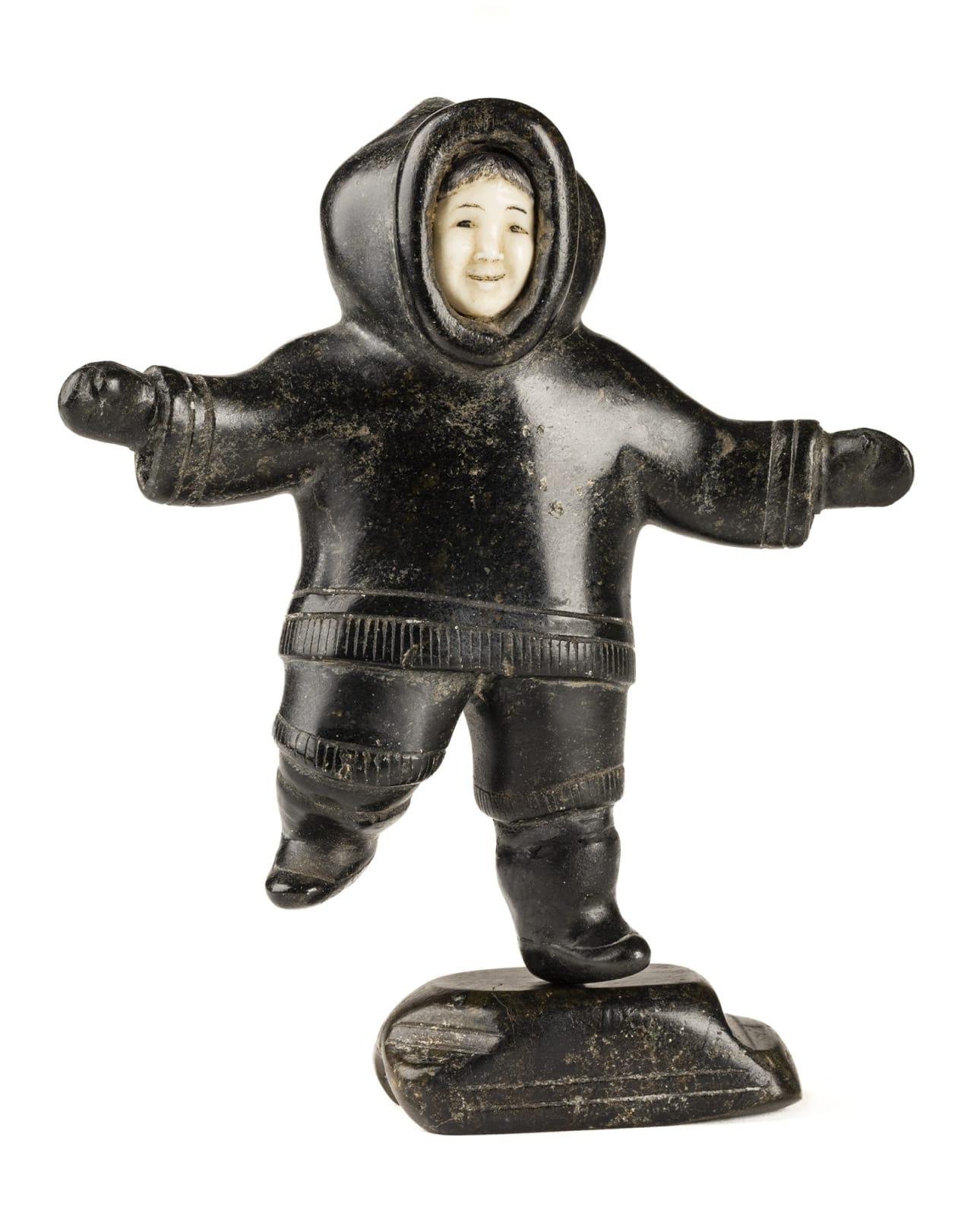 Lot 16 SHEOKJUK OQUTAQ (1920-1982) m., KIMMIRUT/KINNGAIT (LAKE HARBOUR/CAPE DORSET) Running Boy, c. 1952-54 stone, ivory, and black colouring, 5 x 4.25 x 1.5 in (12.7 x 10.8 x 3.8 cm) Estimate: $6,000 — $9,000 Price realiZed: $16,800