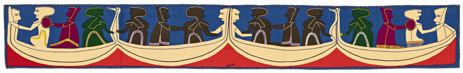 Lot 19 JESSIE OONARK, O.C., R.C.A (1906-1985) QAMANI'TUAQ (BAKER LAKE) Untitled Wall Hanging, 1974 stroud, felt, and embroidery floss, 10.5 x 72 in (26.7 x 182.9 cm) Estimate: $25,000 — $35,000