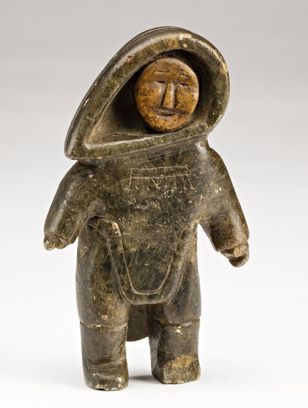 Lot 2 UNIDENTIFIED ARTIST, INUKJUAK (PORT HARRISON) Standing Woman, c. 1949-50 stone, 3.75 x 2.25 x 1 in (9.5 x 5.7 x 2.5 cm) Estimate: $2,000 — $3,000 Price realized: $6,000