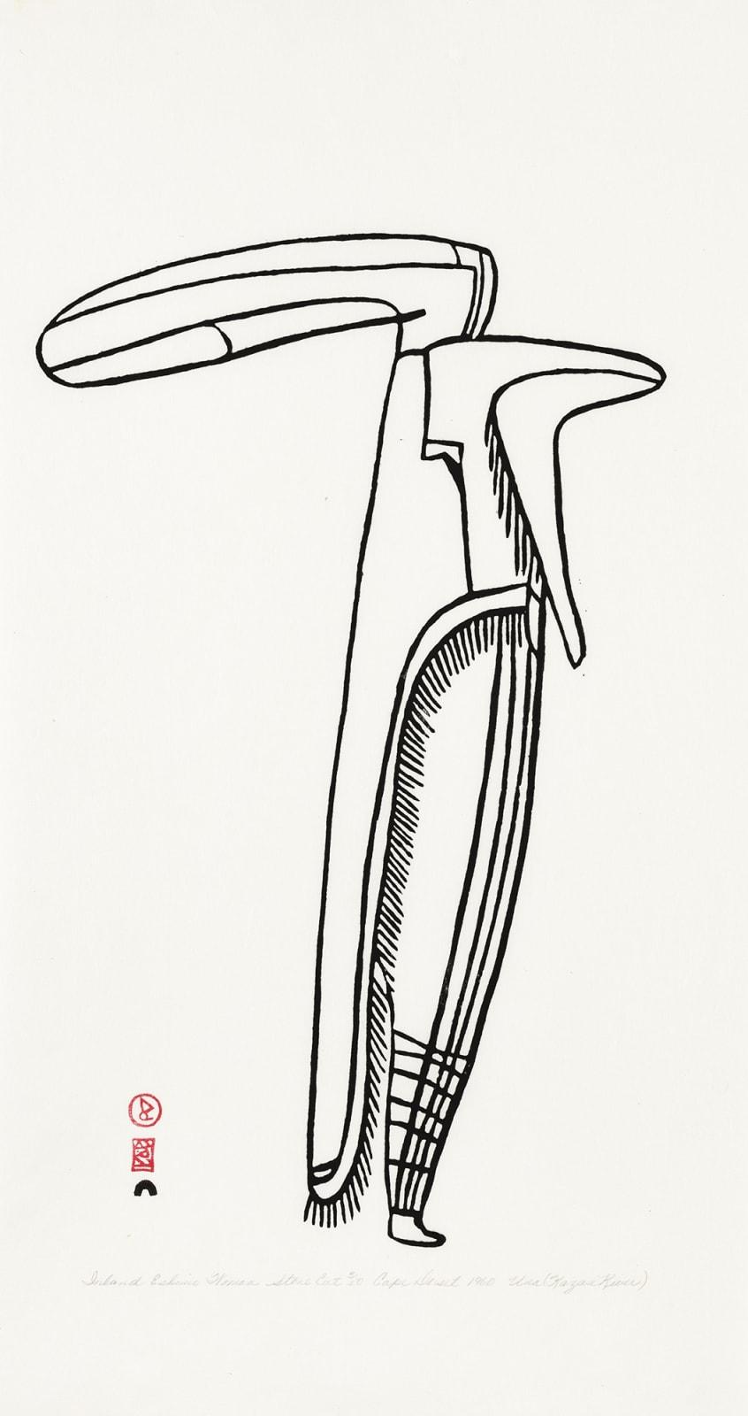 Lot 20 JESSIE OONARK, O.C., R.C.A (1906-1985) QAMANI'TUAQ (BAKER LAKE) Inland Eskimo Woman, 1960 #62 stonecut, 21.5 x 12.5 in (54.6 x 31.8 cm) Estimate: $8,000 — $12,000 PRICE REALIZED: $8,400