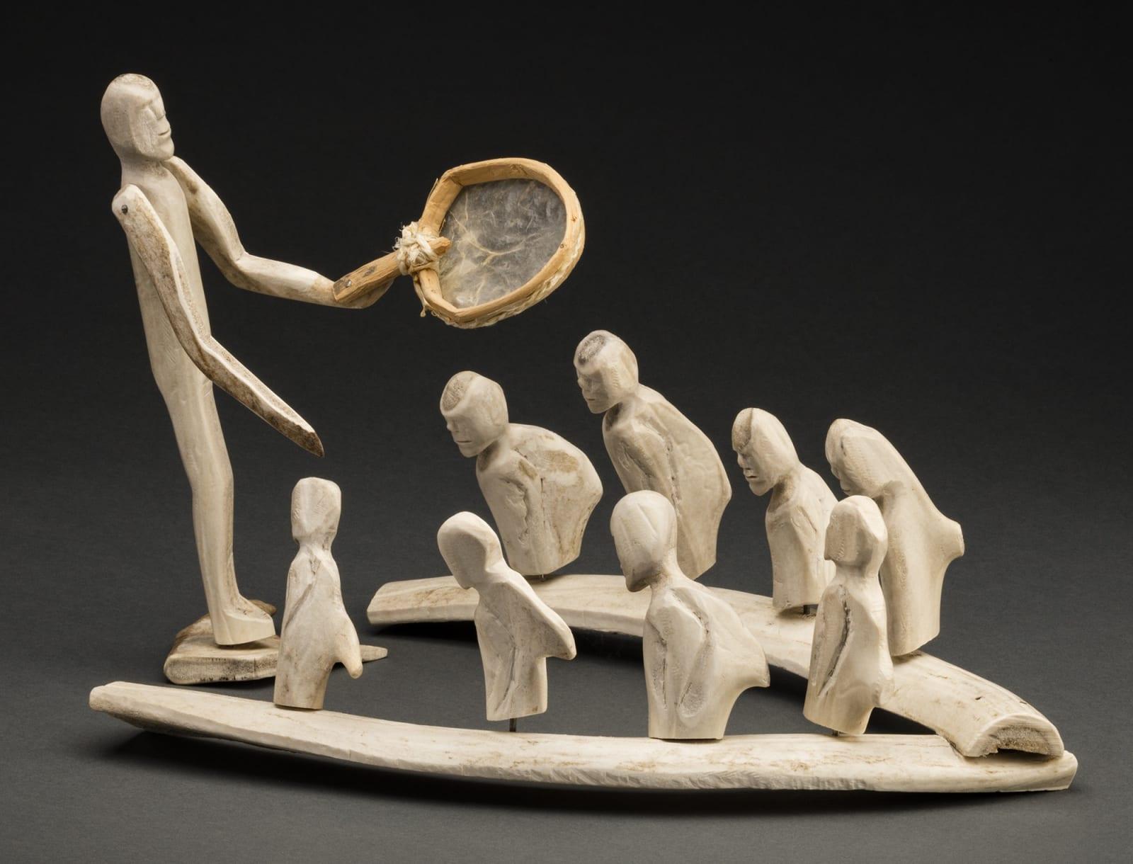 Lot 21 LUKE IKSIKTAARYUK (1909-1977) QAMANI'TUAQ (BAKER LAKE) Drum Dance Scene, early 1970s antler, wood, caribou heart tissue, cord, and metal, dimensions variable: 10 x 14.25 x 10 in (25.4 x 36.2 x 25.4 cm) Estimate: $25,000 — $35,000