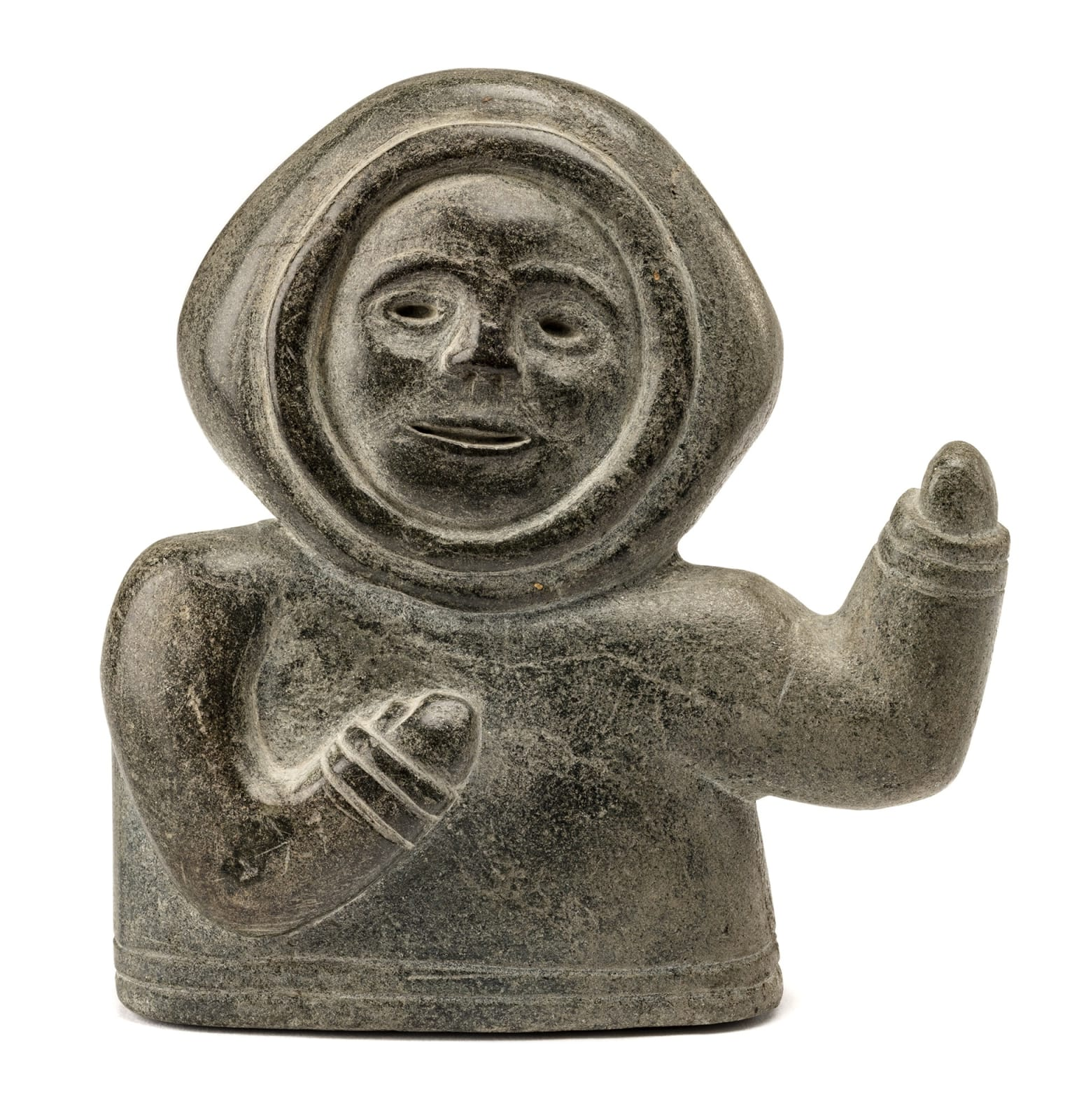 Lot 23 Possibly NIVIAQSI (NIVIAKSIAK) (1908-1959) m., KINNGAIT (CAPE DORSET) Waving Boy, mid-late 1950s stone, 4.75 x 4.75 x 1.5 in (12.1 x 12.1 x 3.8 cm) Estimate: $1,200⁠ — $1,800 PRICE REALIZED: $1080