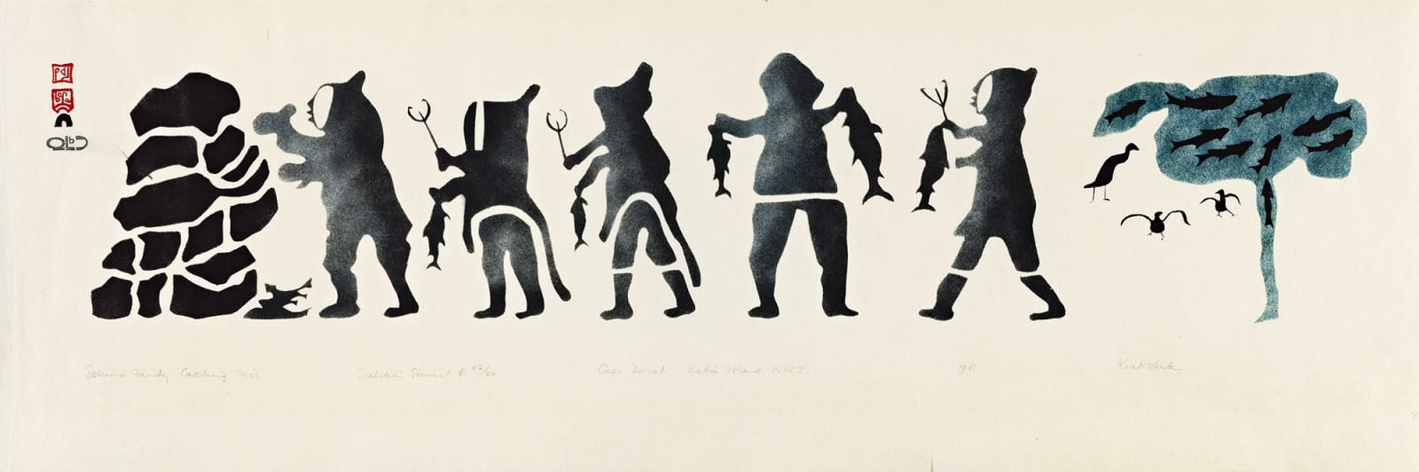 Lot 27 KIAKSHUK (1886-1966) m., KINNGAIT (CAPE DORSET) Eskimo Family Caching Fish, 1960 (1961 #4) stencil, 10.75 x 35 in (27.3 x 88.9 cm). Estimate: $3,000 — $5,000 Price realized: $2,880
