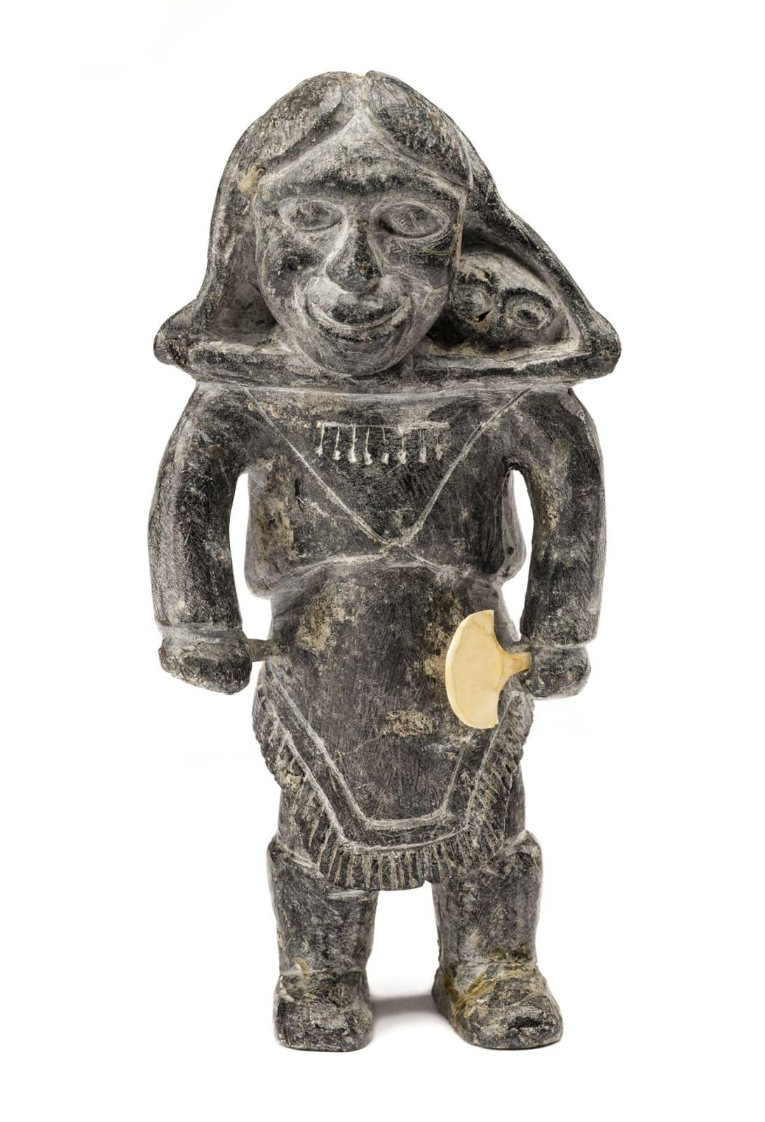 Lot 47 JOE TALIRUNILI (1893-1976) PUVIRNITUQ (POVUNGNITUK) Mother With Child in Her Amautiq, c. 1965 stone and ivory, 5.5 x 3 x 2 in (14 x 7.6 x 5.1 cm) Estimate: $2,500 — $3,500 price realized: $5,040