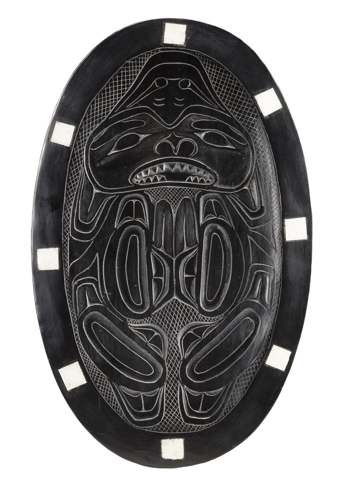 Lot 54 UNIDENTIFIED ARTIST, HAIDA Platter, c. 1920-1950 argillite and bone, 12 x 7.5 x 1.125 in (30.5 x 19.1 x 3 cm) Estimate: $1,500 — $2,500 Price realized: $1,440