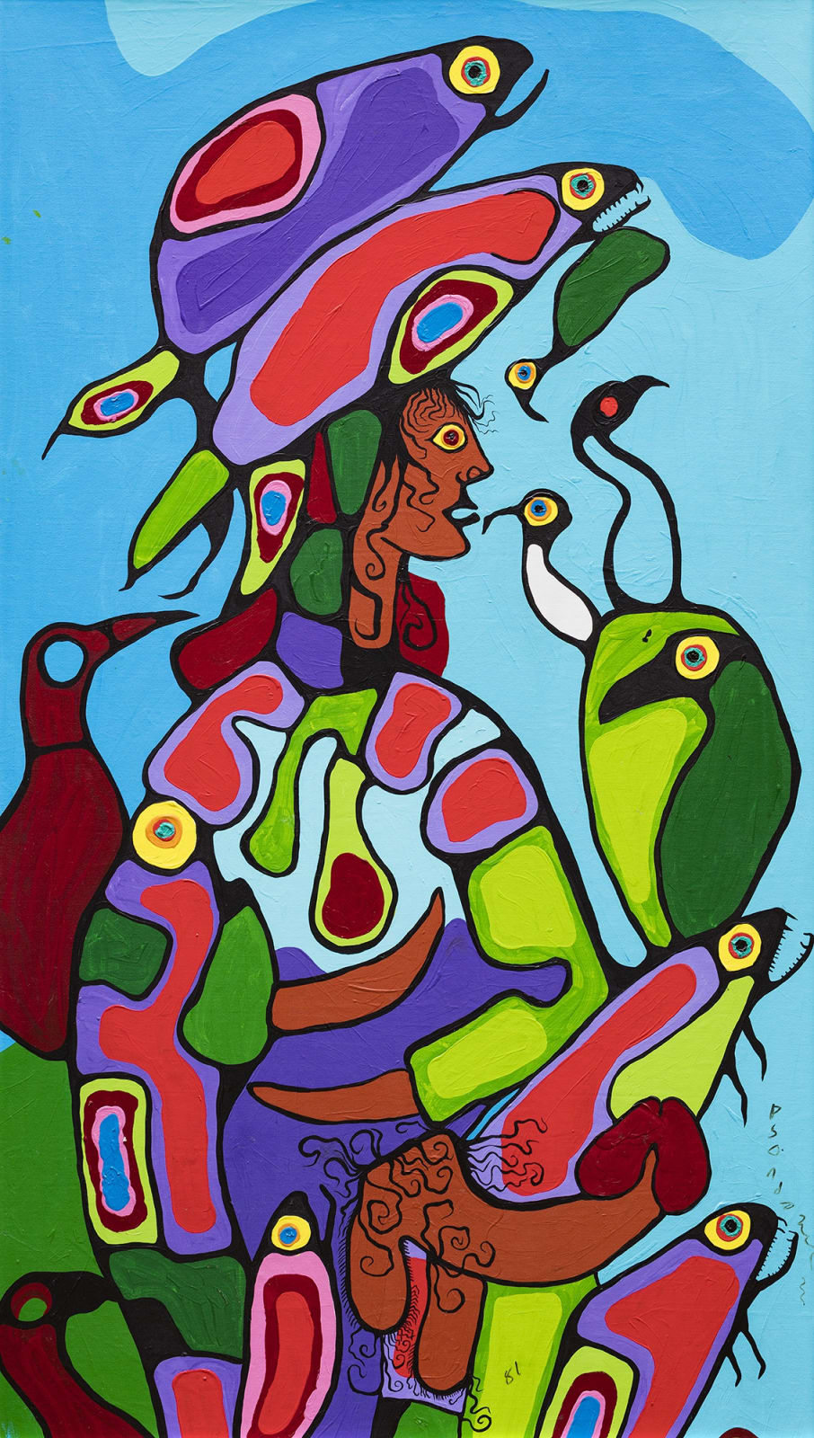 Lot 72 NORVAL MORRISSEAU, C.M. (1931-2007) ANISHINAABE Shaman (Master of the Fish), 1981 acrylic on canvas, laid down on board, 84 x 48 in (213.4 x 121.9 cm) Estimate: $30,000 — $45,000