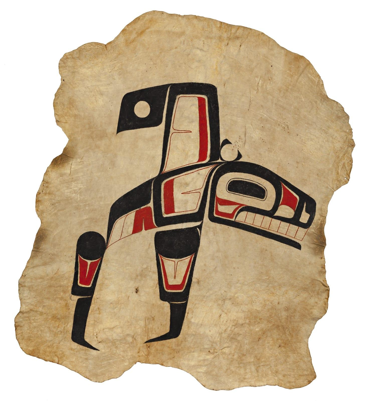 Lot 75 VERNON STEPHENS (1949-) GITXSAN (GITKSAN) Killer Whale, c. 1971 acrylic on tanned moose hide, 96 x 88 in (243.8 x 223.5 cm) Estimate: $4,000— $6,000