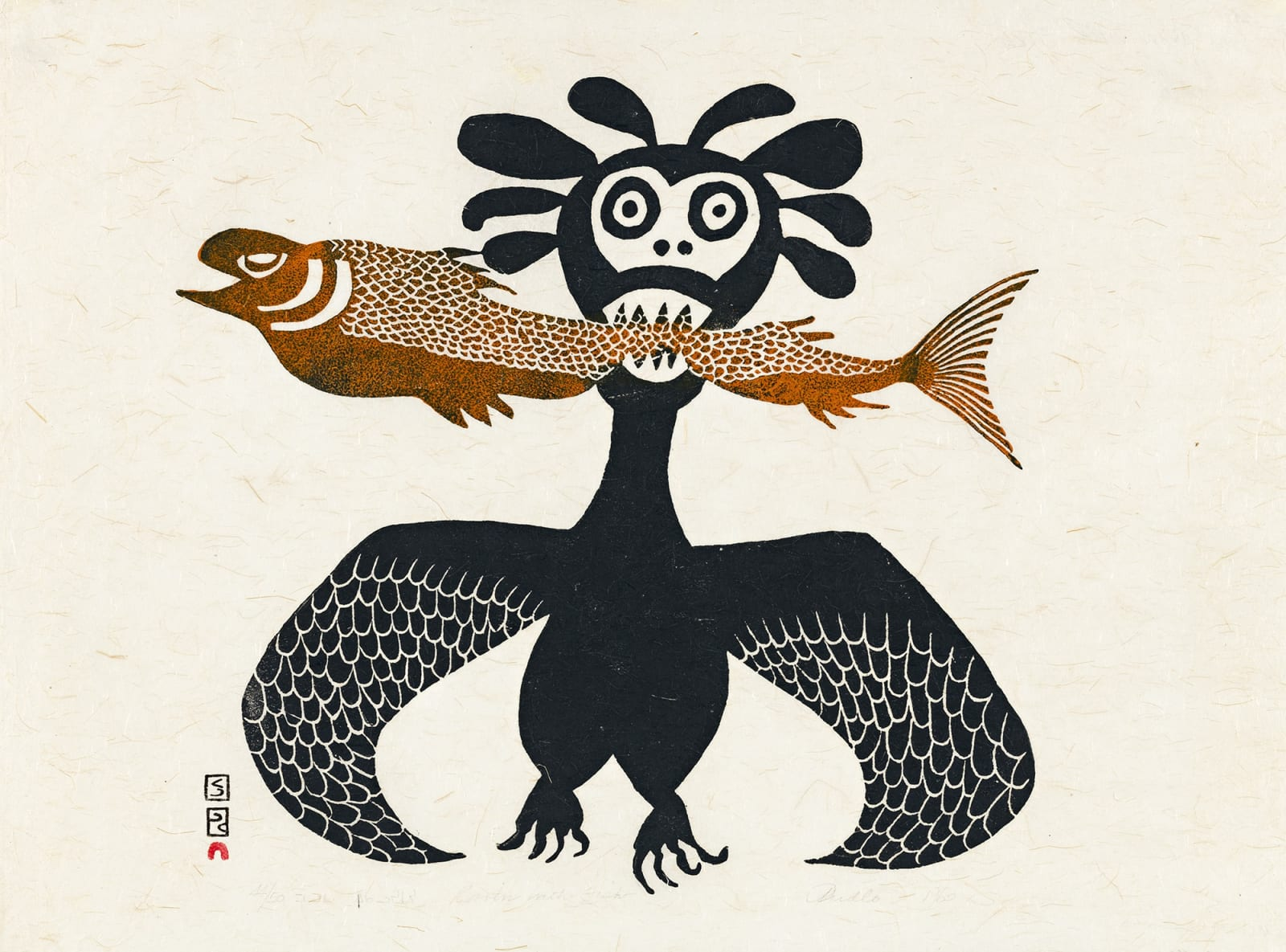 Lot 8 PUDLO PUDLAT (1916-1992) m., KINNGAIT (CAPE DORSET) Raven With Fish, 1963 #37 stonecut, 18 x 24 in (45.7 x 61 cm) Estimate: $3,000 — $5,000