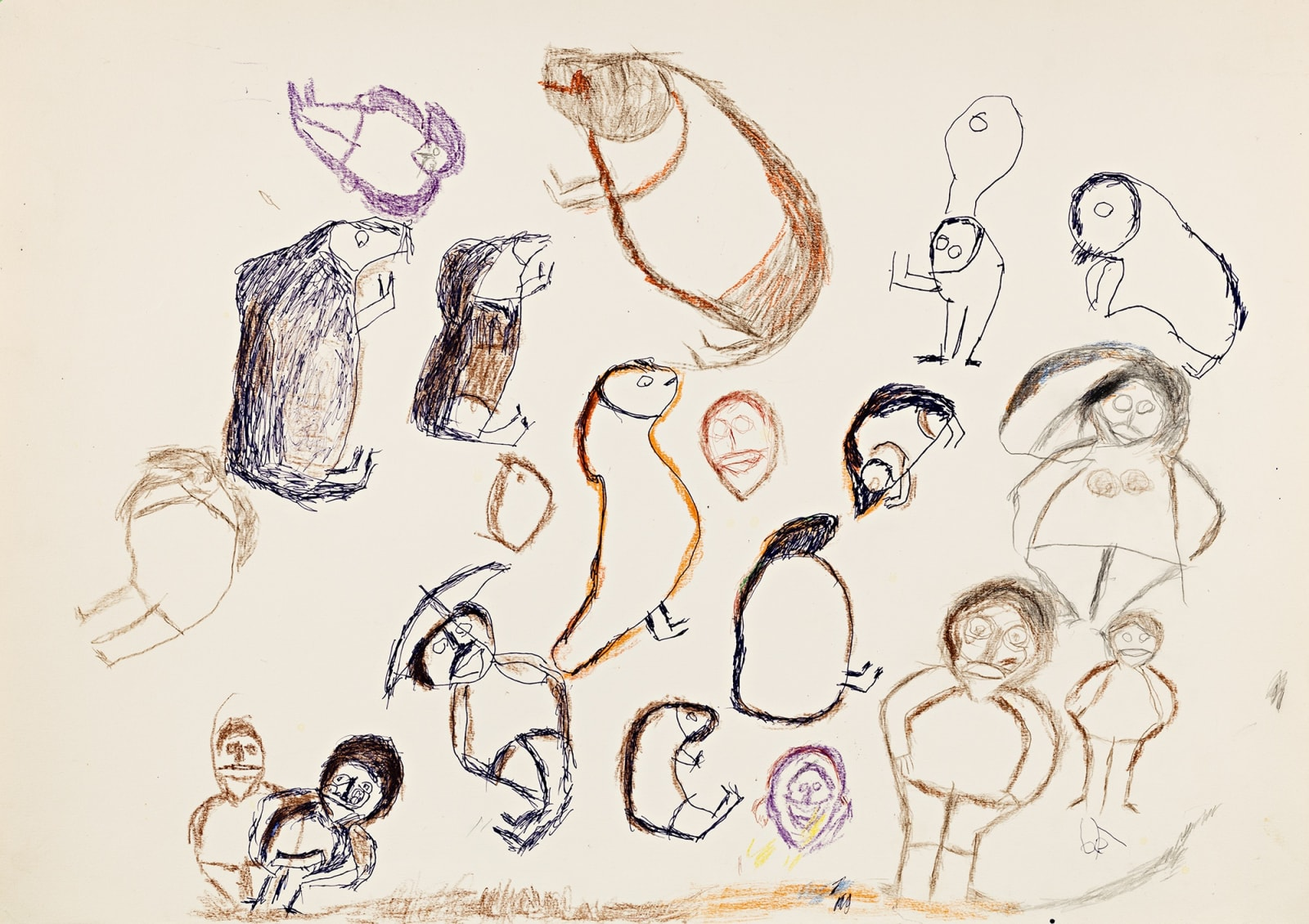 Lot 82 JOHN KAVIK (1897-1993), KANGIQLINIQ (RANKIN INLET) Untitled (People, Muskoxen, and Birds)*, c. 1979-80 pen and crayon drawing, 29.875 x 22.175 in (76 x 56 cm) Estimate: $3,500— $5,000 Price realized: $3,600