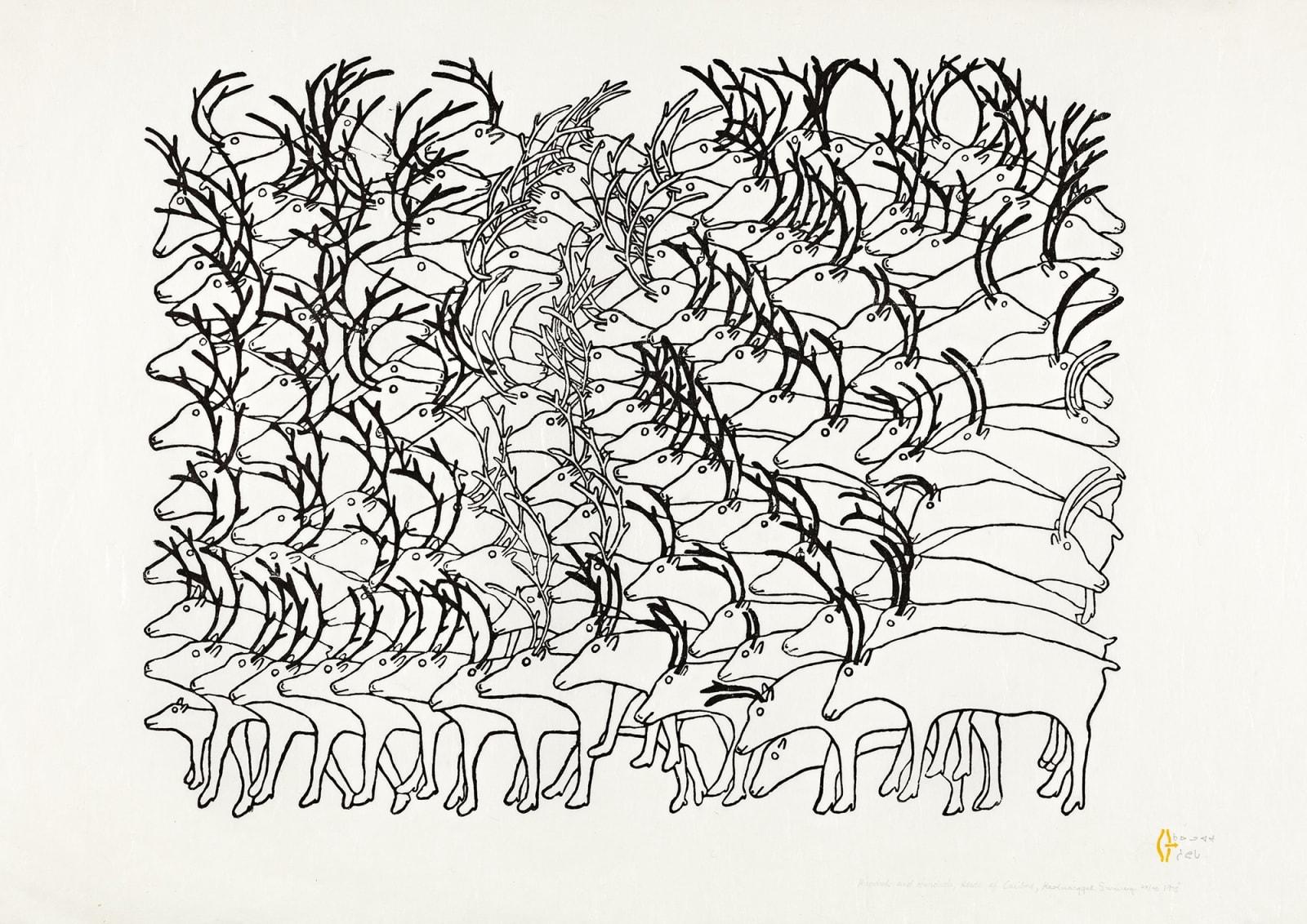 Lot 84 RUTH QAULLUARYUK (1932-) QAMANI'TUAQ (BAKER LAKE) Hundreds and Hundreds, Herds of Caribou, 1975 #1 stonecut, 25 x 37 in (63.5 x 94 cm). Estimate: $3,500— $5,000 Price realized: $10,200