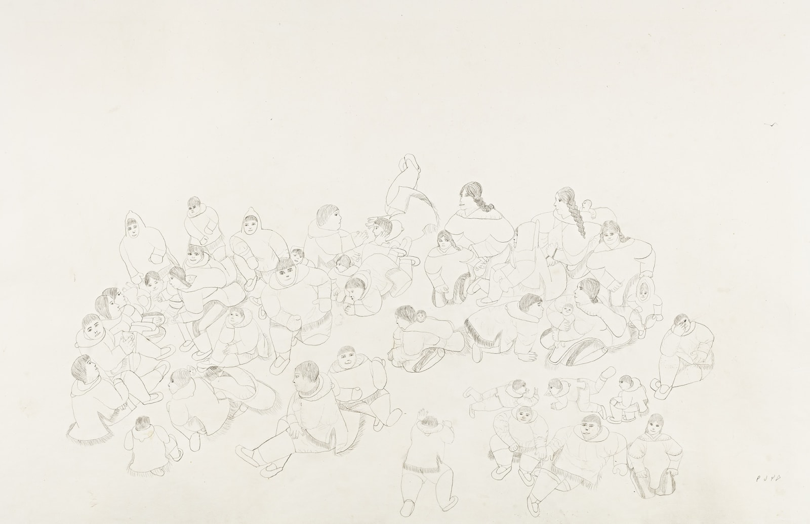 Lot 87 HANNAH KIGUSIUQ (1931-) BAKER LAKE (QAMANI'TUAQ) Community Gathering, mid 1970s graphite drawing, 26 x 40 in (66 x 101.6 cm) Estimate: $1,600— $2,400