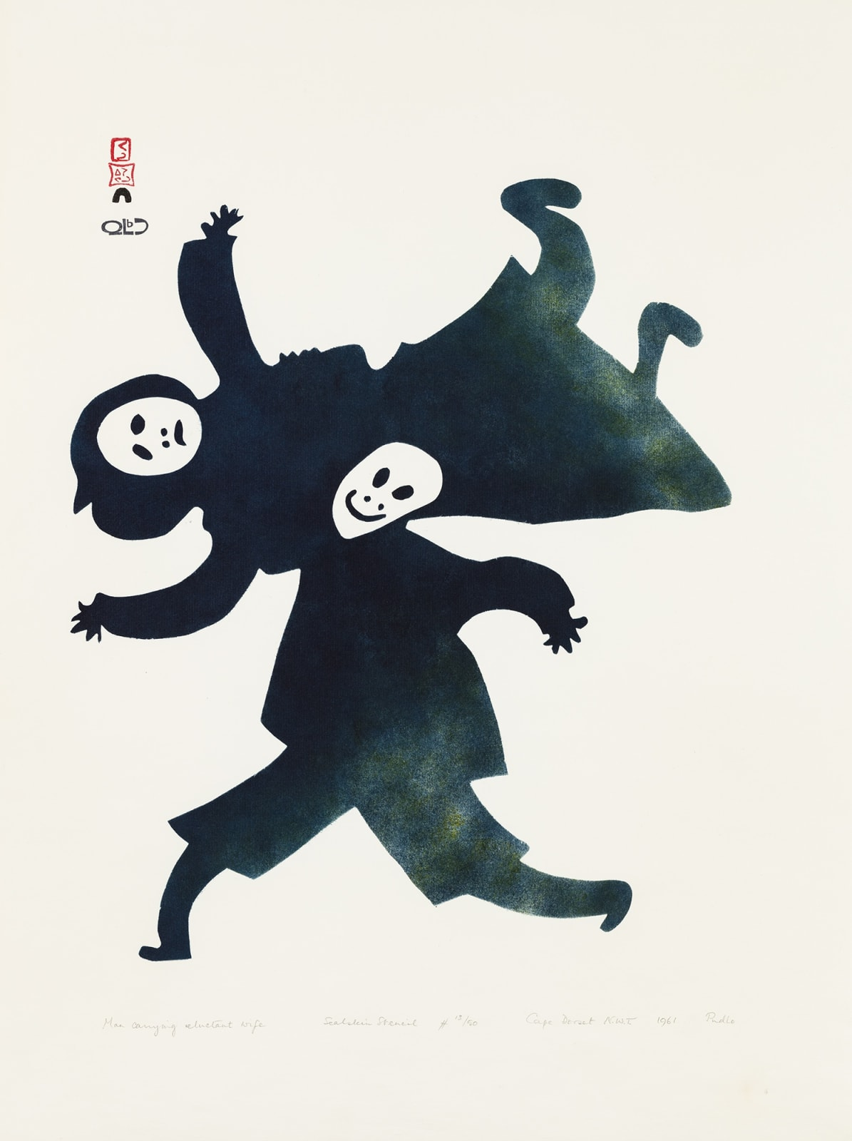 Lot 92 PUDLO PUDLAT (1916-1992) m., KINNGAIT (CAPE DORSET) Man Carrying Reluctant Wife, 1961 #16 stencil, 25 x 19 in (63.5 x 48.3 cm) Estimate: $6,000— $9,000 Price realized: $19,200