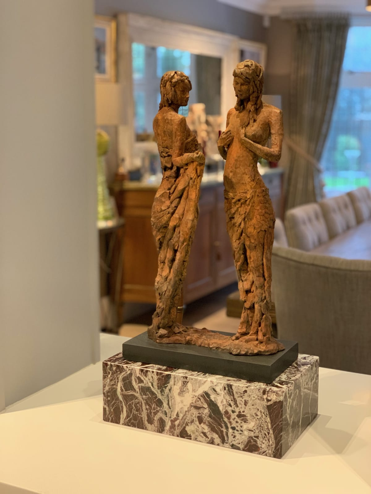 A beautiful sculpture by David Williams-Ellis, with an aged patina and bespoke marble plinth designed and commissioned by Floren