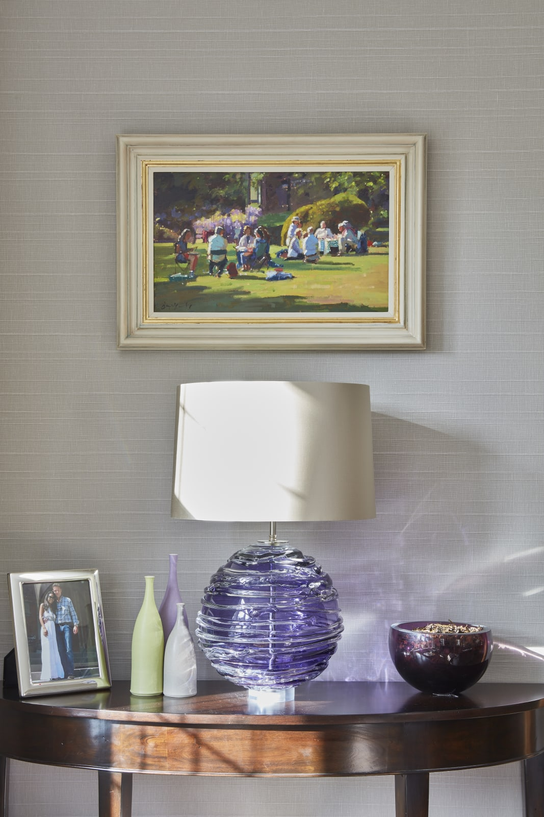 Bruce Yardley original painting above a handmade William Yeoward glass lamp