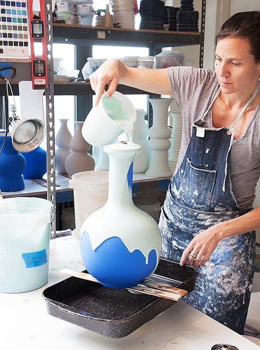 Each lamp gets several coats of glaze to produce a rich colour.