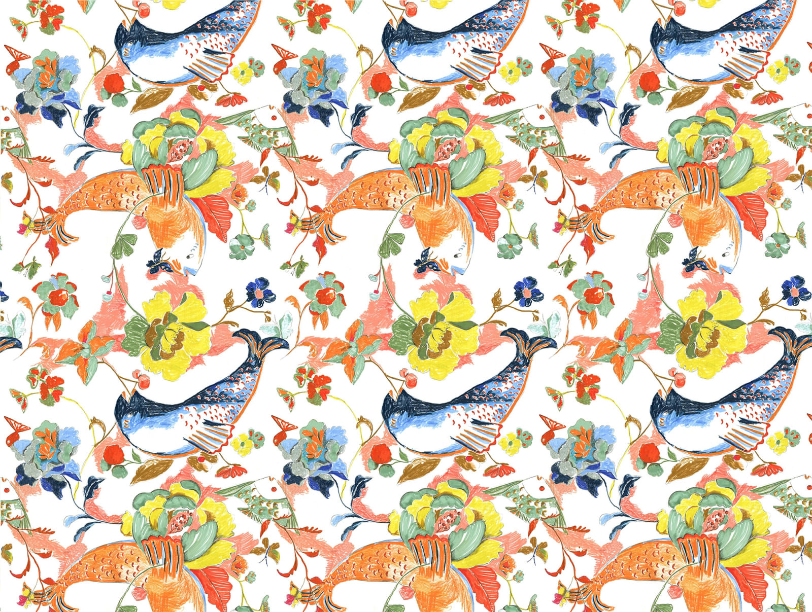 Ravenna Osgood, Betty-O Fish & Floral Wallpaper, 2018