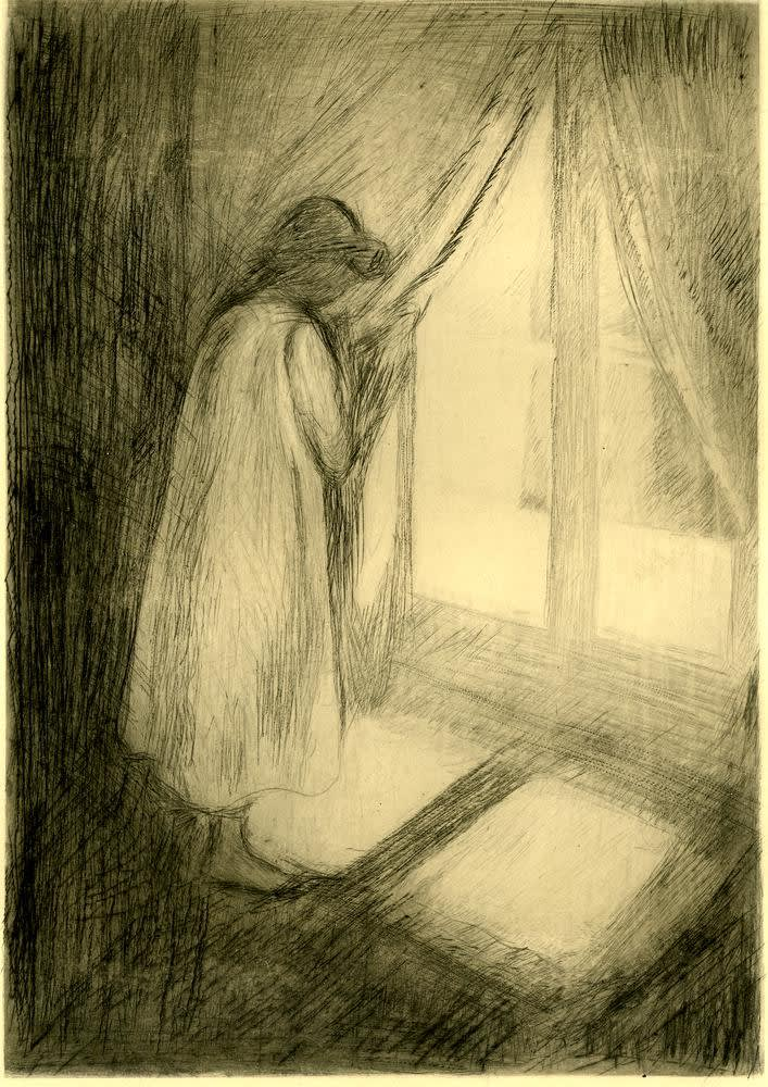 EDVARD MUNCH Object: The girl at the window, 1894 Courtesy of The British Museum.