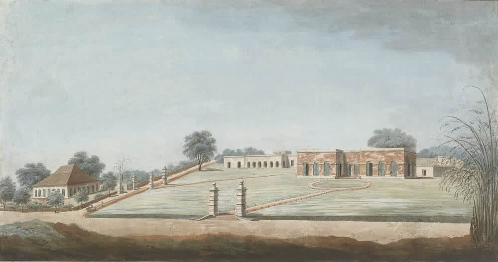 This house once belonged to Colonel Samuel Hampton who owned a large number of properties in and around Calcutta . Murshidabad, 1795-1807