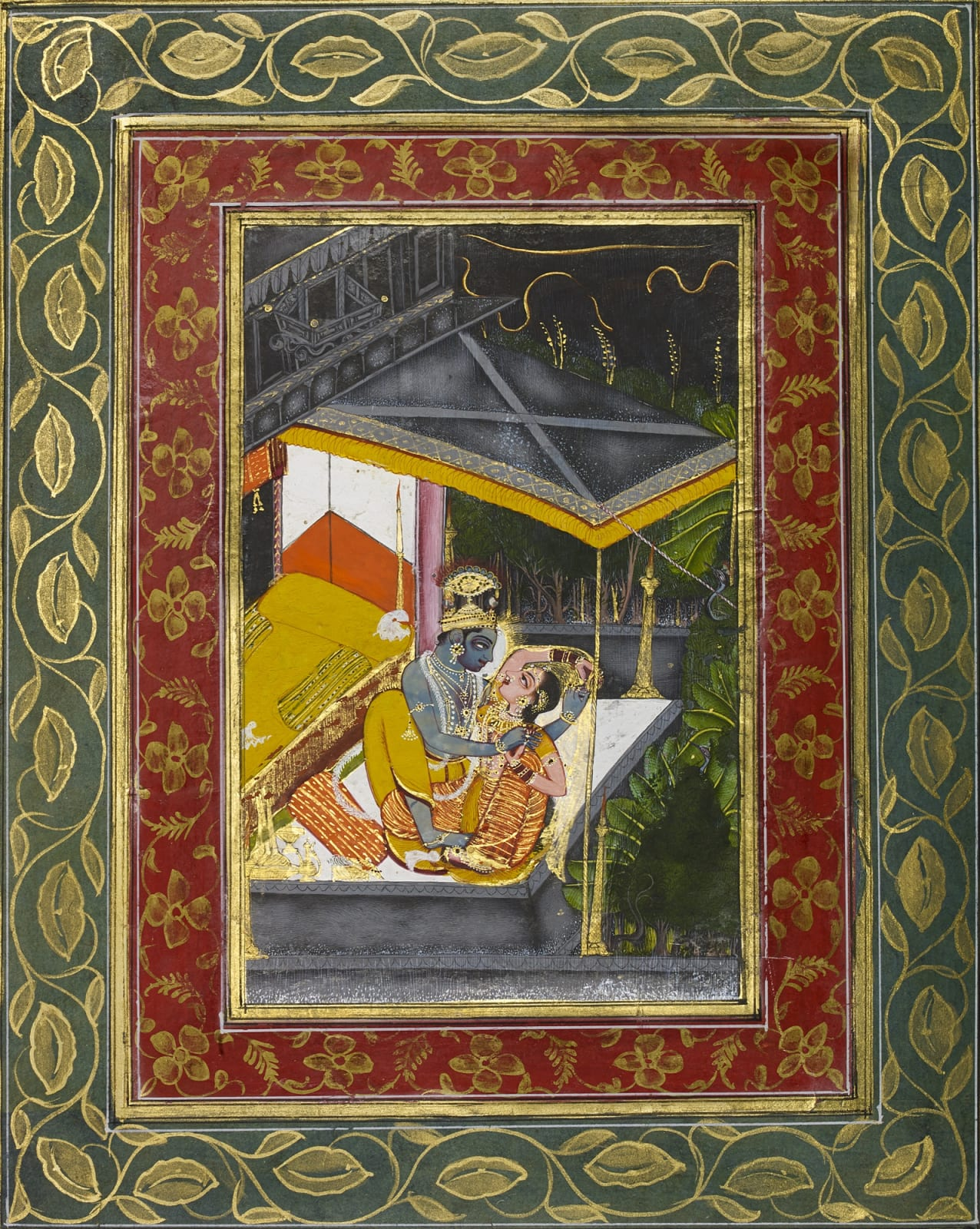 Night scene depicting Krishna and Radha in embrace – from a royal Kota-Jaipur Album, Kota, c.1720-30, possibly by master artist C