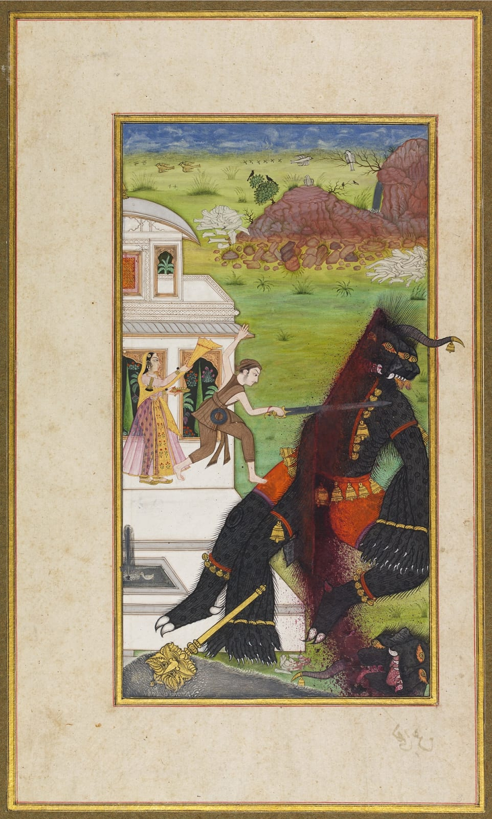 The Prince rescues the Princess from the Demon, Page from a Deccani Urdu poem, the Gulshan-i 'Ishq by Nusrati, India, Deccan, c. 1700