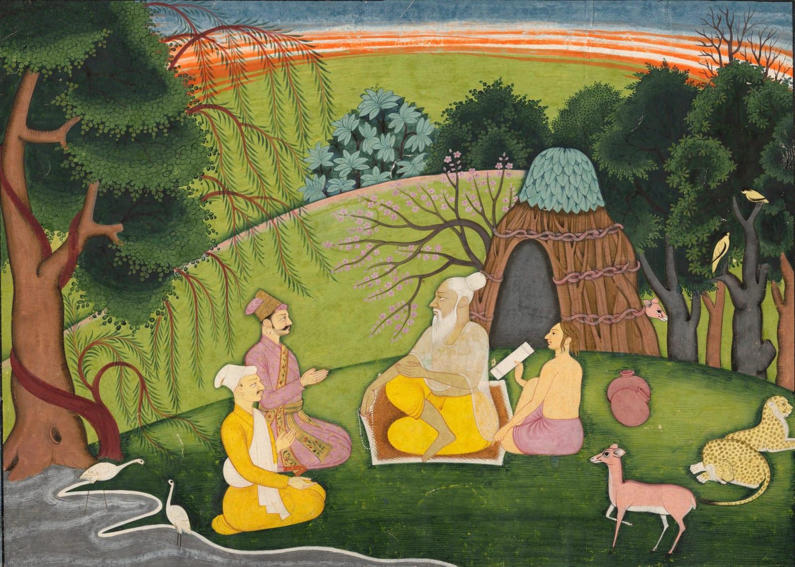 The Sage Medhas begins to relate the Devi Mahatmya to Suratha and Samadhi, Guler or Kangra, c. 1780–1800