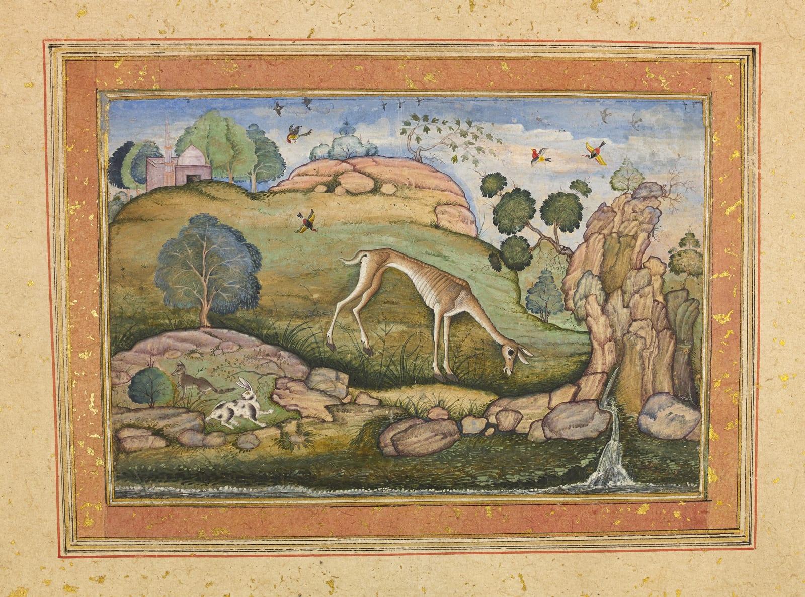 An emaciated Deer heads for Water, Imperial Mughal artist, c. 1585–90