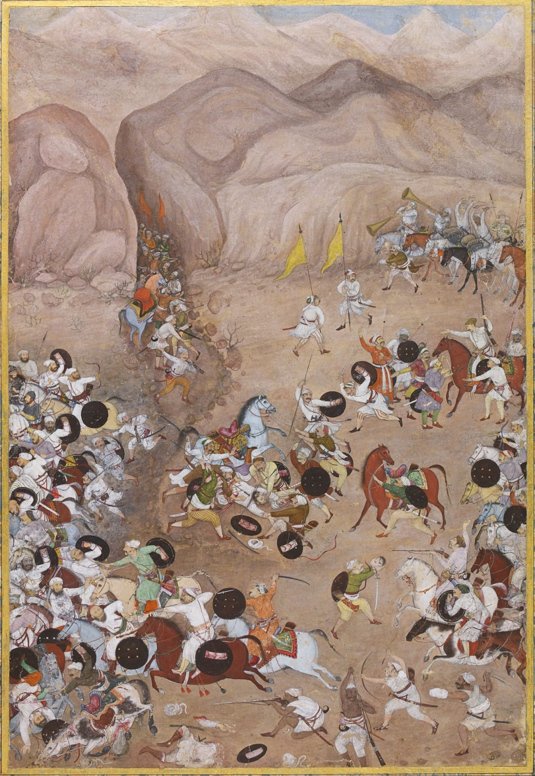A Page related to the Windsor Castle Padshahnama: The Victory of Bikramajit and his Bundelas over the Rebel Darya Khan and his Afghans, 1631, Imperial Mughal, attributed to Balchand or a close associate, 1631–35