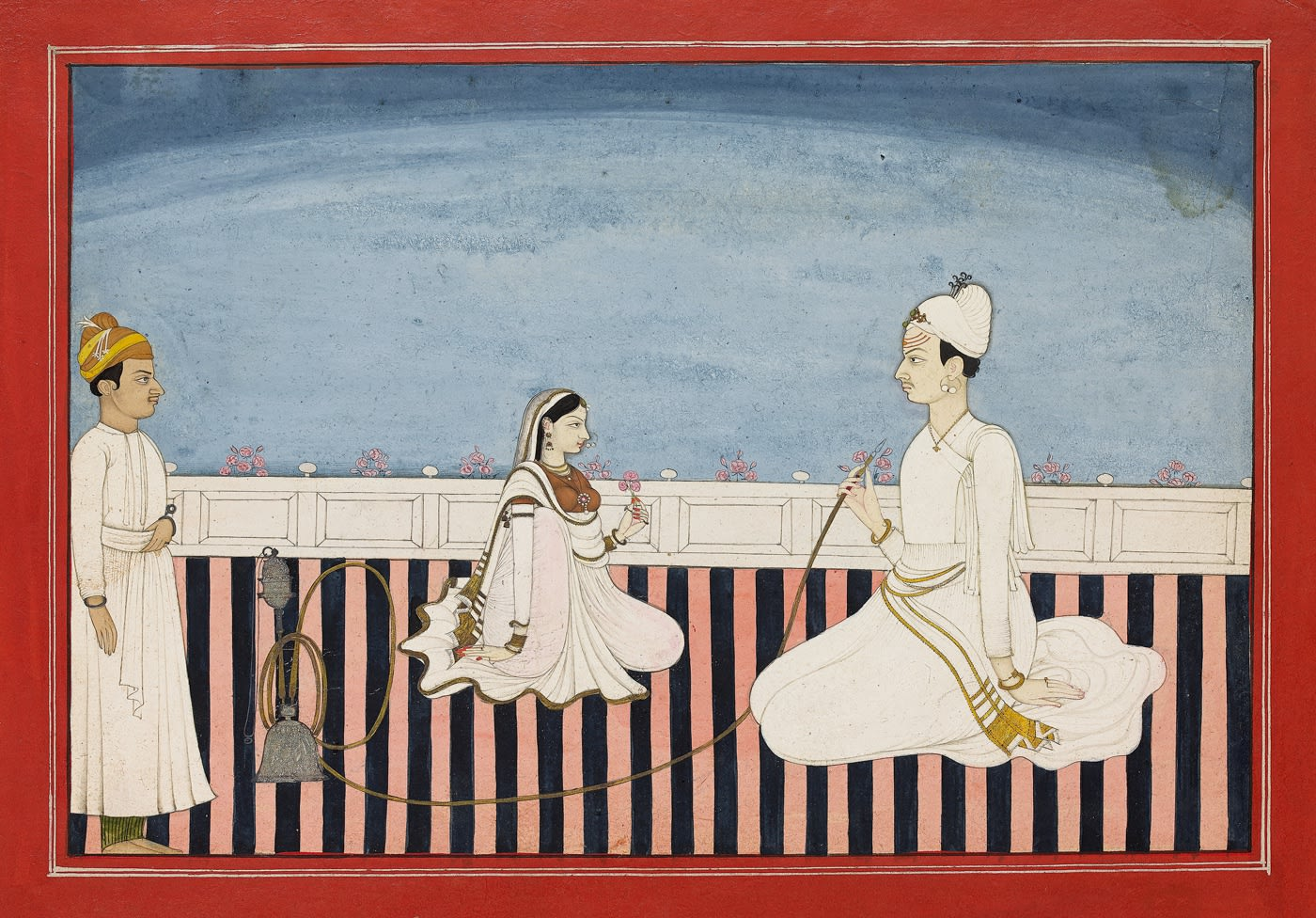 A Prince smoking a Hookah with his Consort, Bhoti, c. 1780