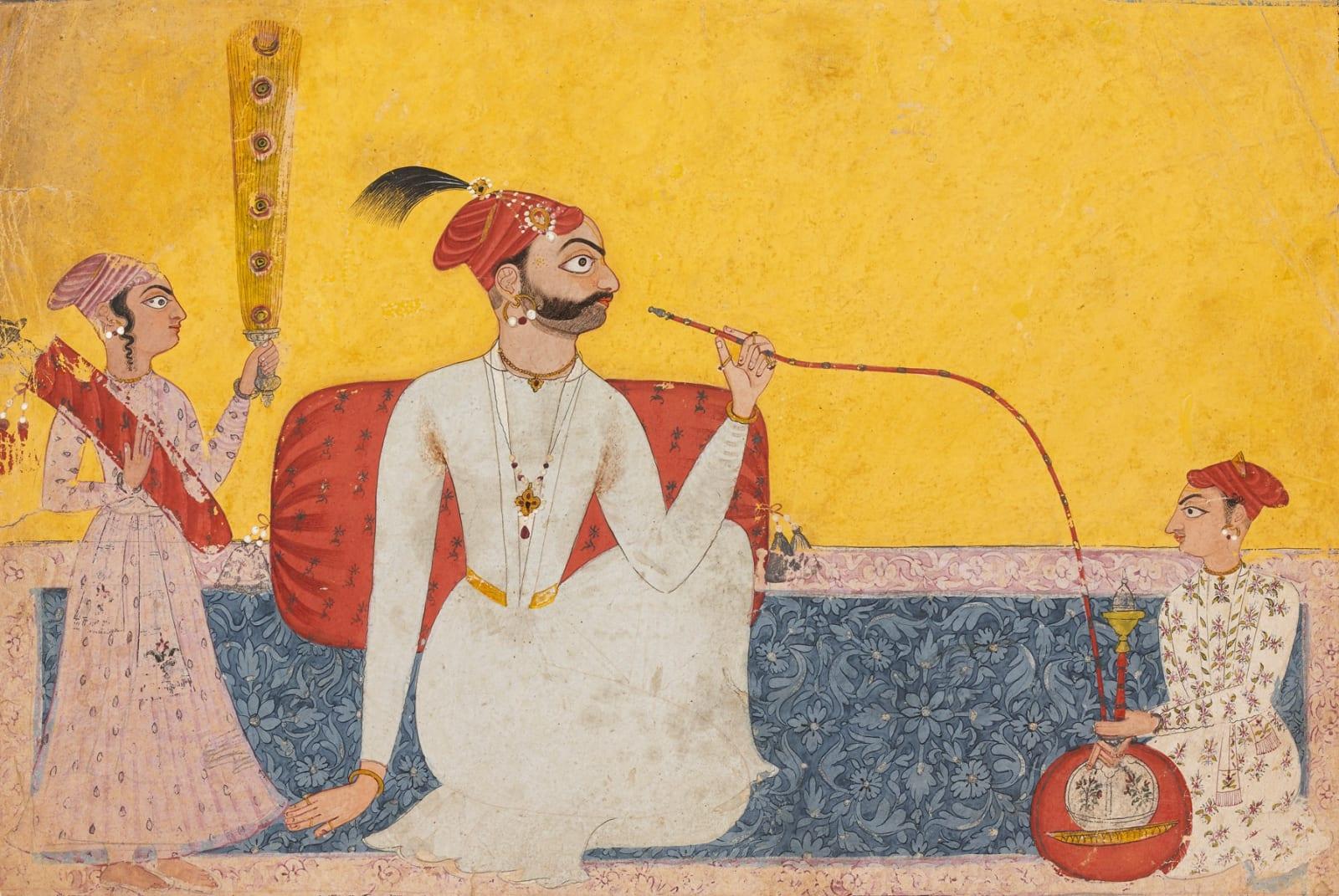 A Nobleman smoking a Hookah, perhaps Raja Tedhi Singh of Mankot as a young man, Mankot, c.1700–1730