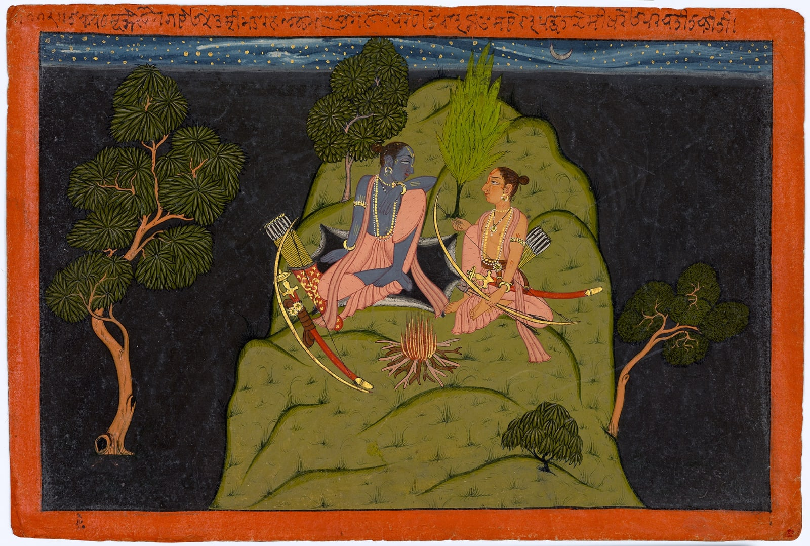 Rama and Lakshmana on top of the Rishyamuka mountain contemplating entering Kishkindha; Page from the Shangri Ramayana, Style IV, By a Pahari artist, perhaps from Bilaspur, 1710-20