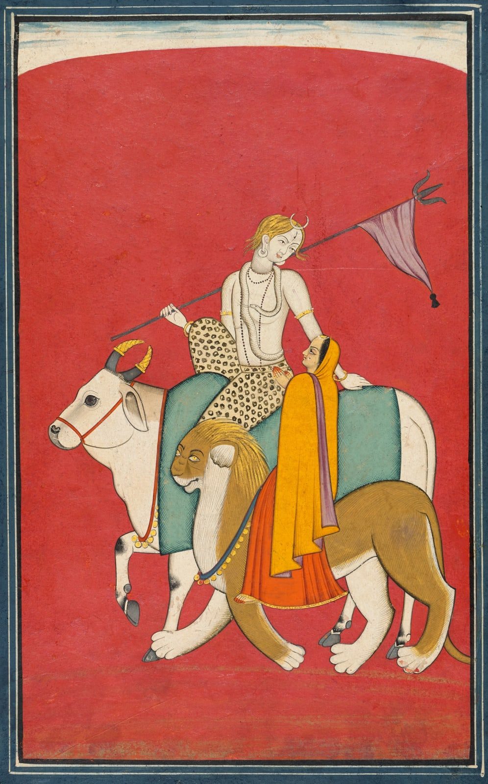 Shiva and Parvati riding their Vehicles Nandi the Bull and the Devi's Lion, Chamba, c. 1780-90