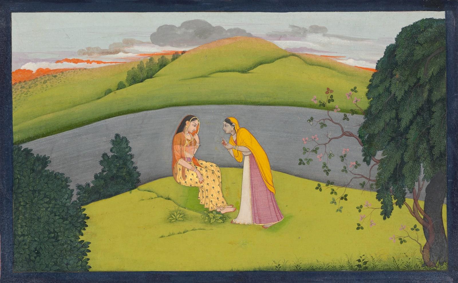 The Sakhi describes Krishna's lovelorn State to a hesitant Radha - Page from the 'Tehri-Garhwal' Gitagovinda Series , Guler or Kangra, c. 1775-80