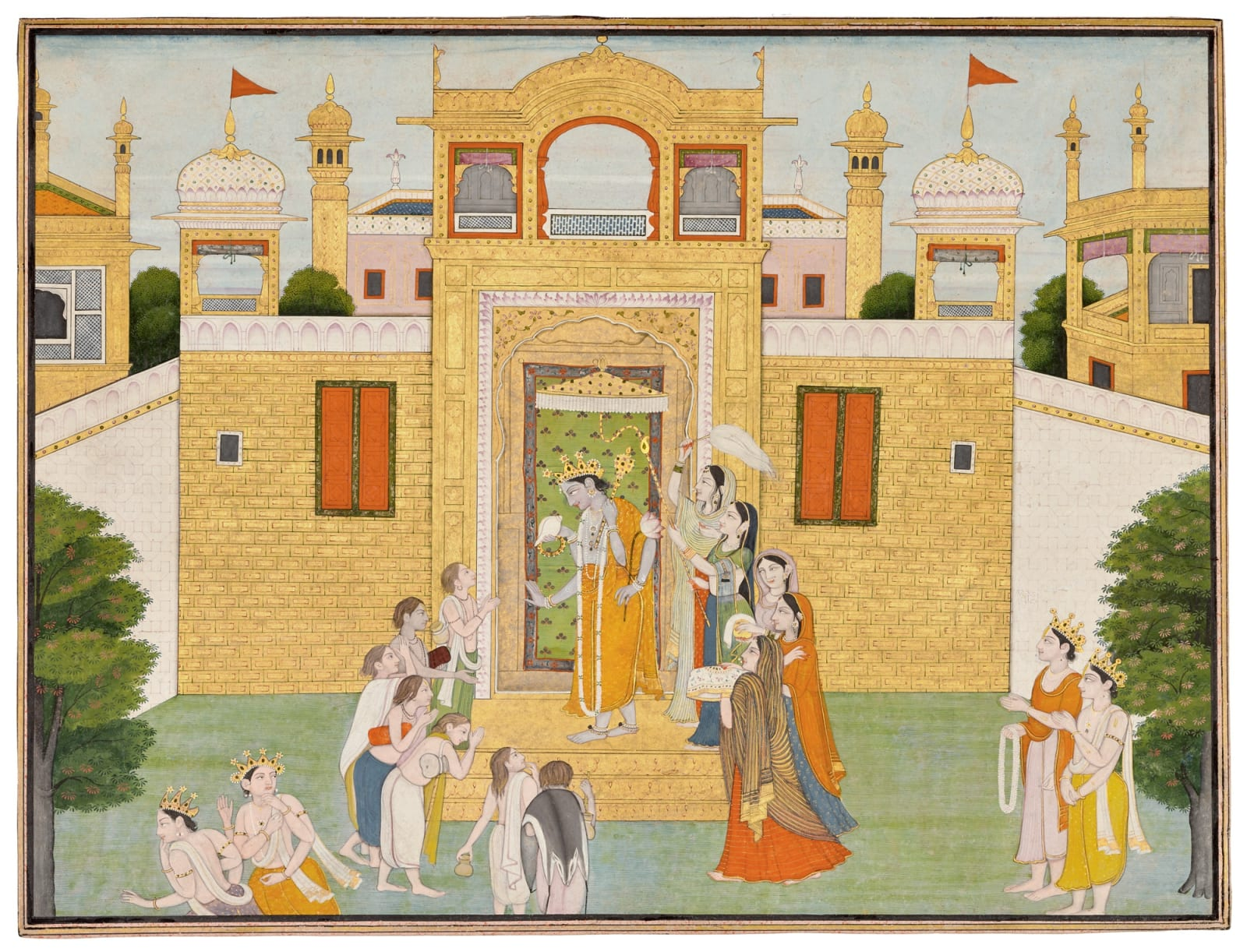 Vishnu outside his Vaikuntha Palace with the seven Kumaras , Attributed to the Guler artist Ranjha at Chamba, 1790-1800
