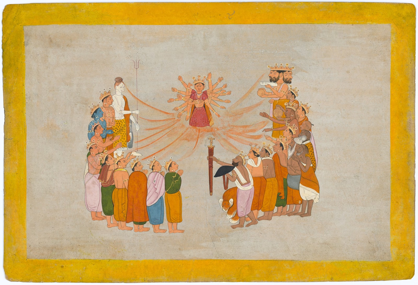 The Goddess emanates from the Essence of all the Gods - Page from a Devi Mahatmya Series, By a Guler artist, 1775-80