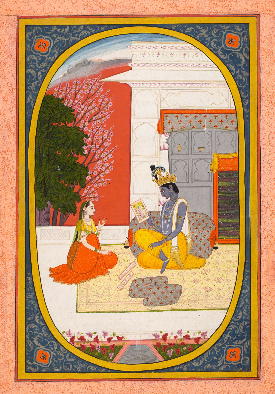 Krishna examines a Picture of his beloved which the Sakhi has brought him - Page from the Rasikapriya of Keshav Das, Attributed to Purkhu, Kangra, c. 1810-20